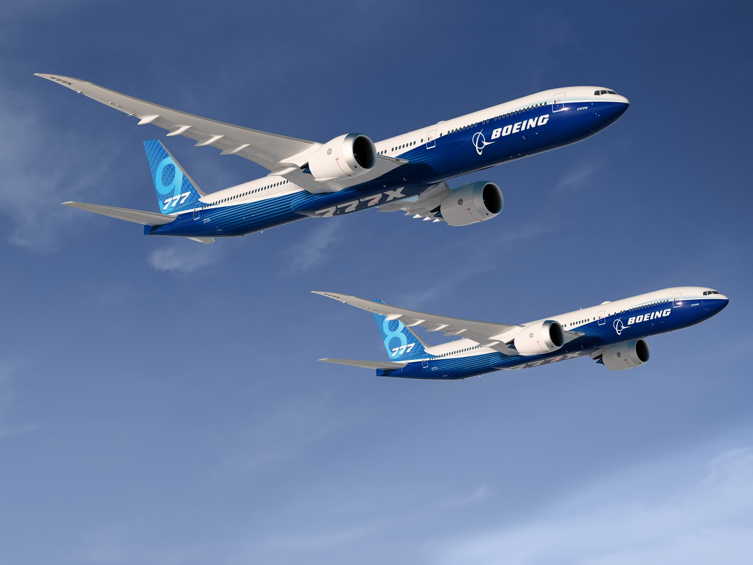 Rendering 777-9X; 777-8X; Both Planes together; View from lower Starboard - right side; Air to Air; Over Clouds Blue Boeing Livery; K66735