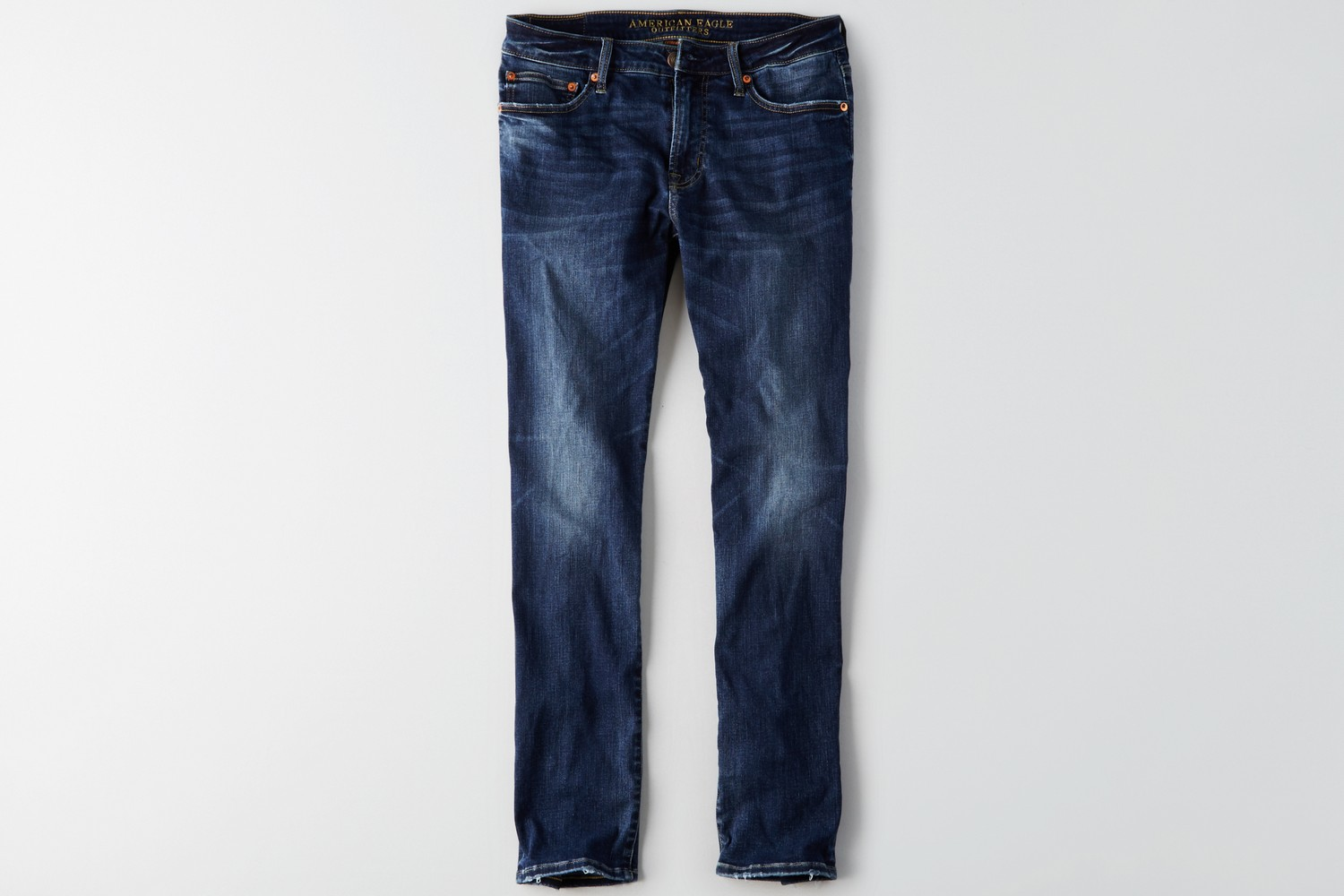 AE-MENS-DENIM-dark wash with whiskers, no destroy, extreme flex slim straight, dark brushed copper button, copper rivets, aged bronze zipper JAP C/O Repush 5/30