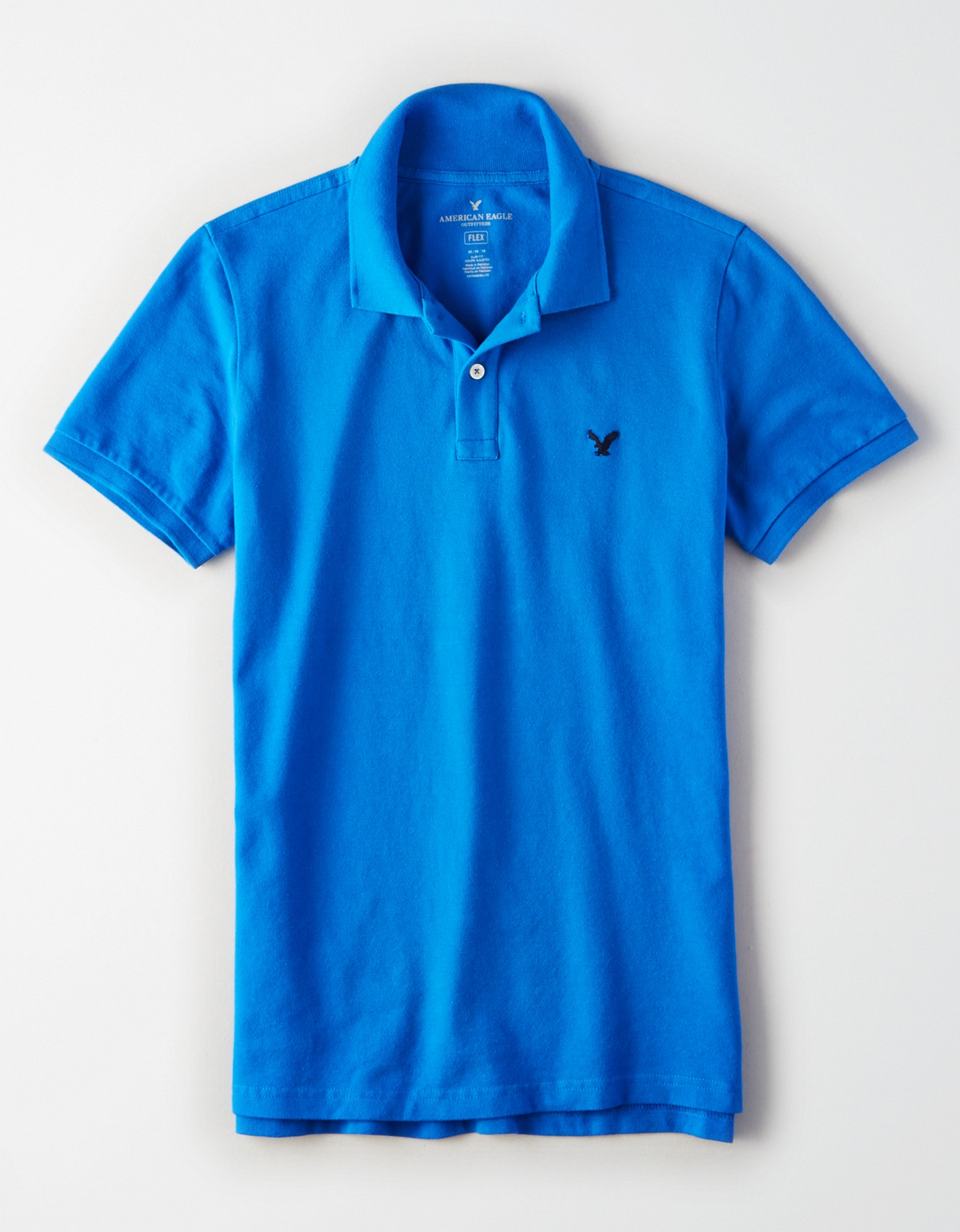 AE - INTL - Apparel - M - SF Pique Polo - Blue - Solid Color - navy blue embroidered eagle on left chest AL