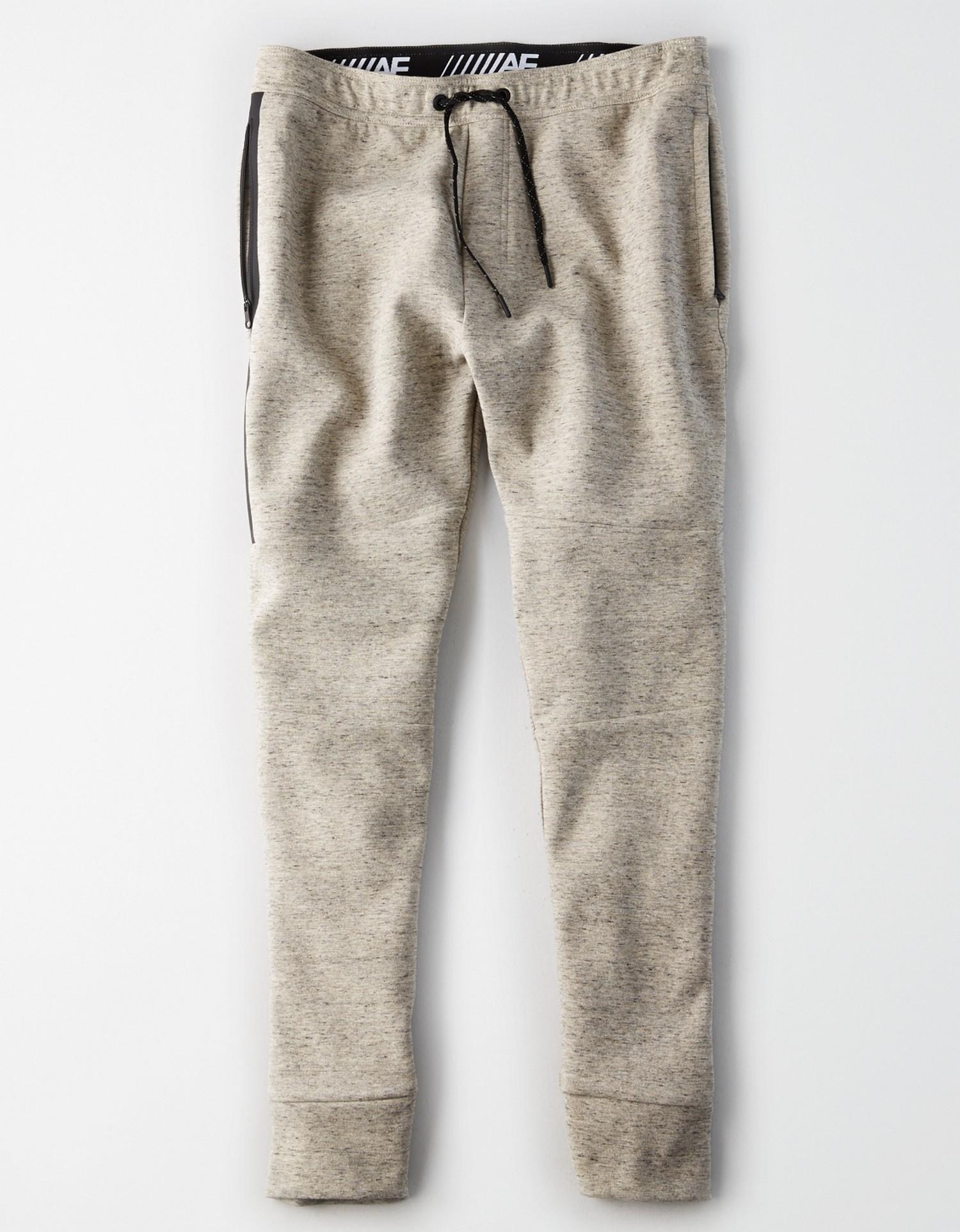 AE - W - Apparel - FLEECE JOGGER - ISSAC Heather Grey - Black Zipper Back Pocket - Black drawstring on waist AL