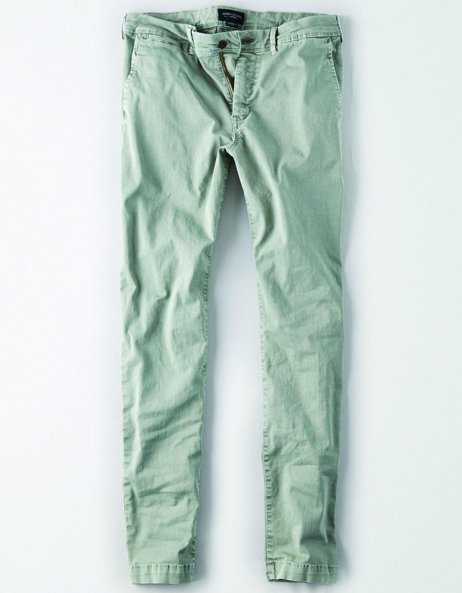 AE - INTL - Apparel - M - Skinny Pant - Light Palm Green - Brown button - extreme Flex KS
