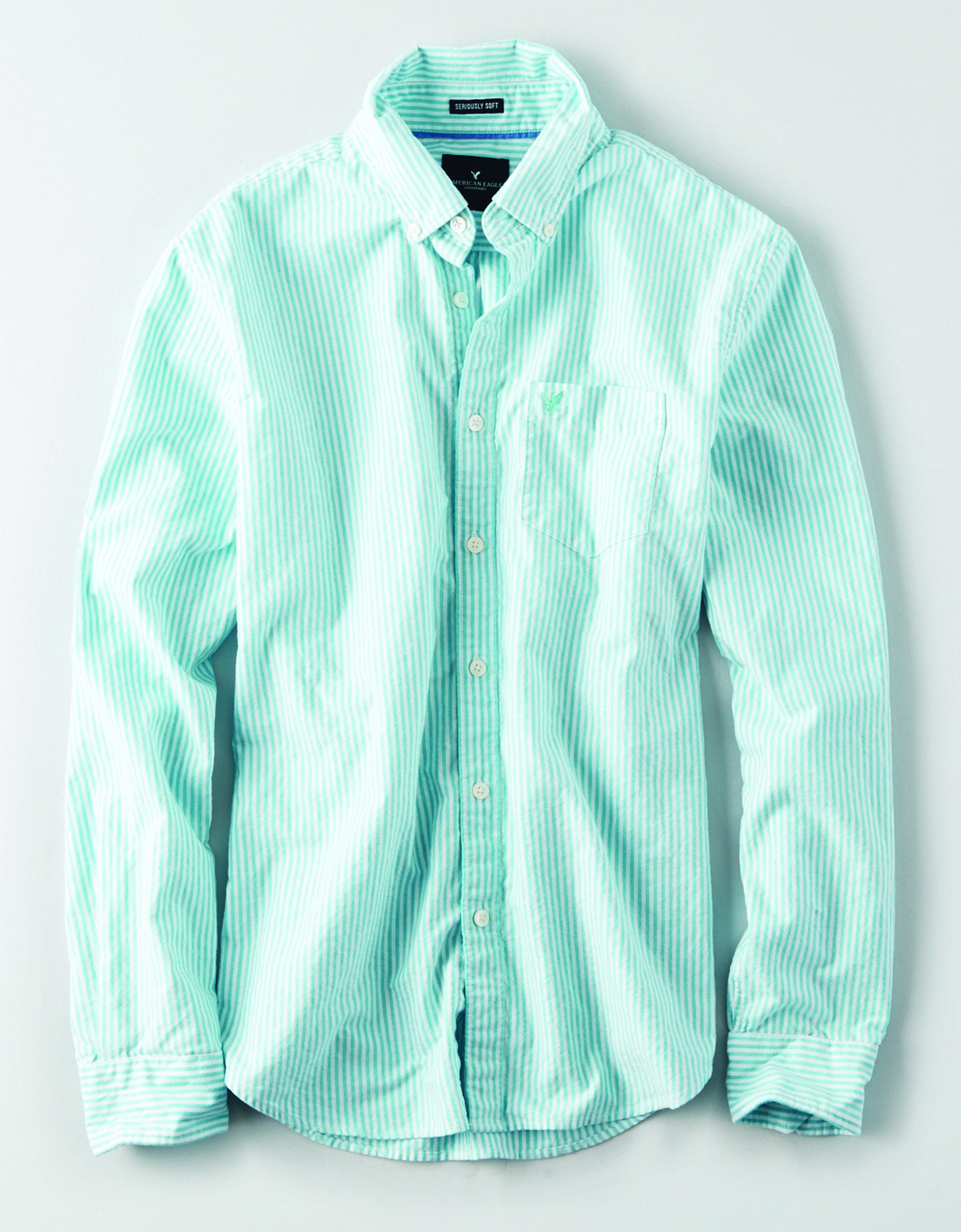 AE - INTL - Apparel - M-SF BENGEL STRIPE BD - Green and white vertical stripe - left chest pocket w/Green eagle - button collar JP