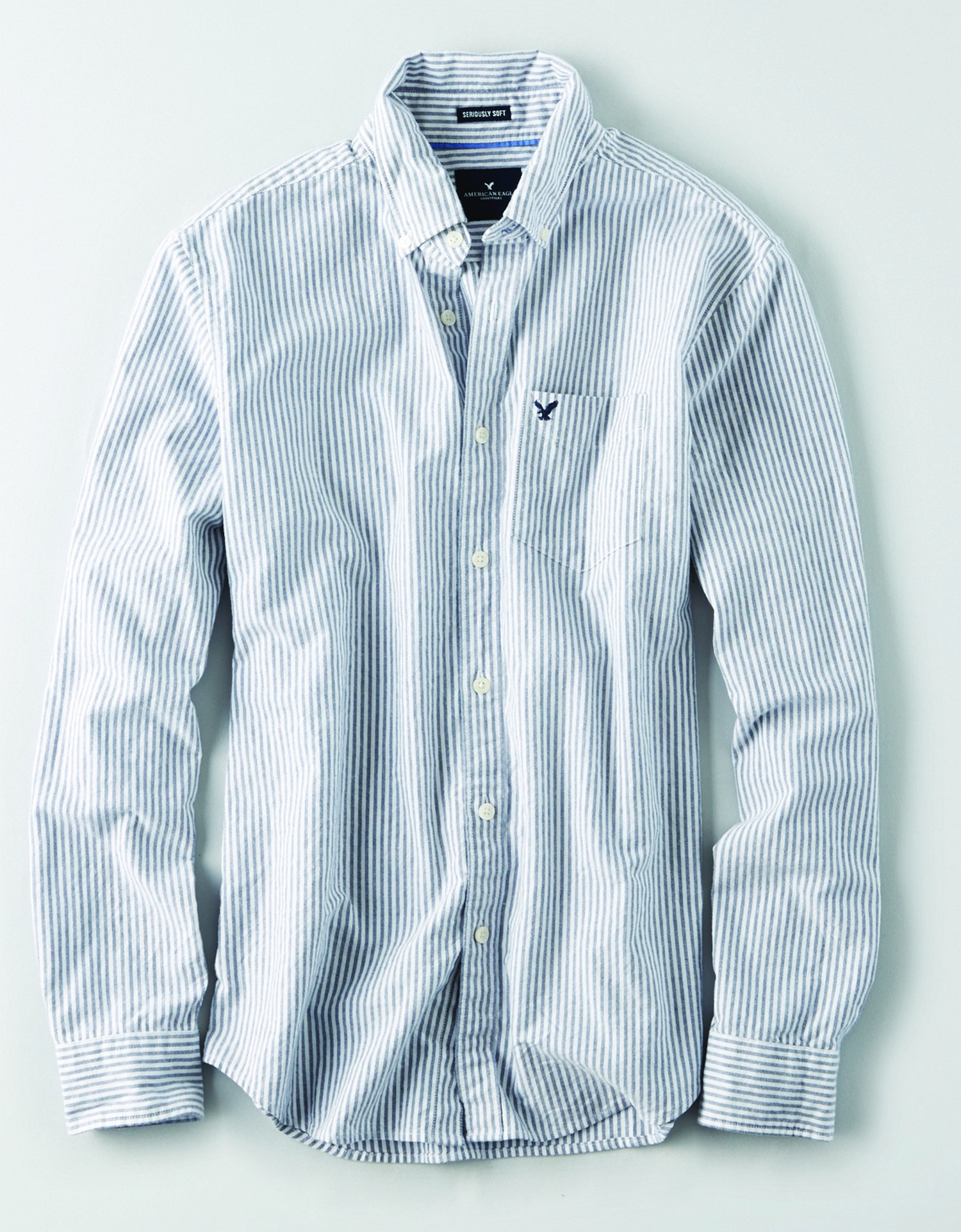 AE - INTL - Apparel - M-SF BENGEL STRIPE BD - Navy and white vertical stripe - left chest pocket w/Navy eagle - button collar JP