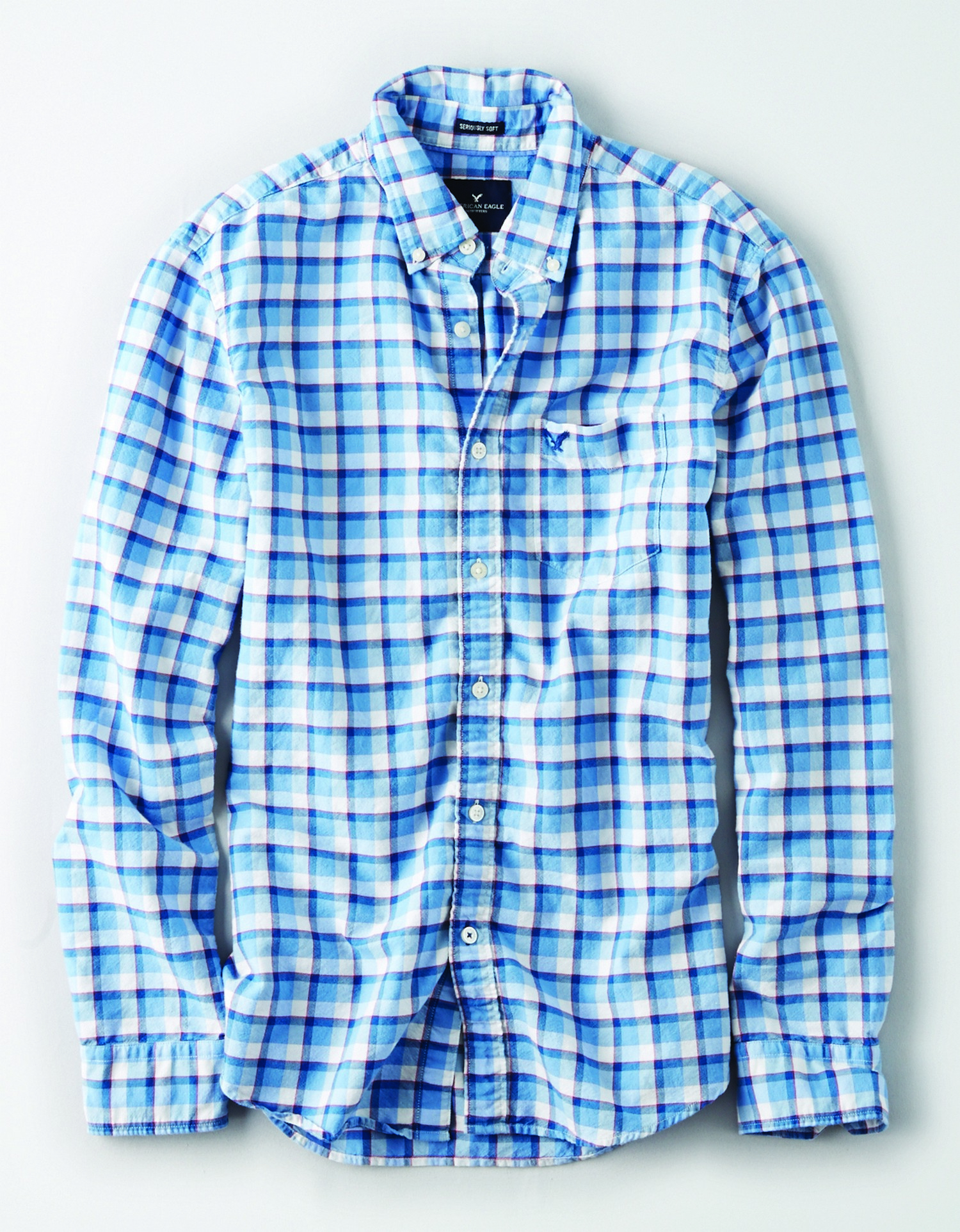 AE - INTL - Apparel - M - CF Plaid Shirt - Light blue and white plaid w/thin red stripe detail - dark blue embroidered eagle on left chest pocket KS *Tracked