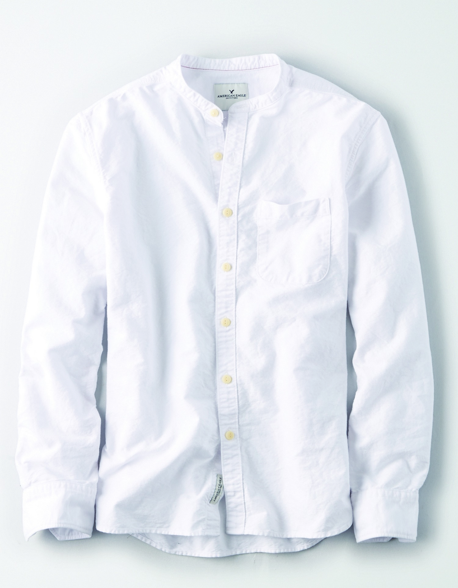AE  - M - Apparel - 1120 CF OXFORD BANDED COLLAR  - White - Left chest pocket - button down - cream buttons BG *Tracked