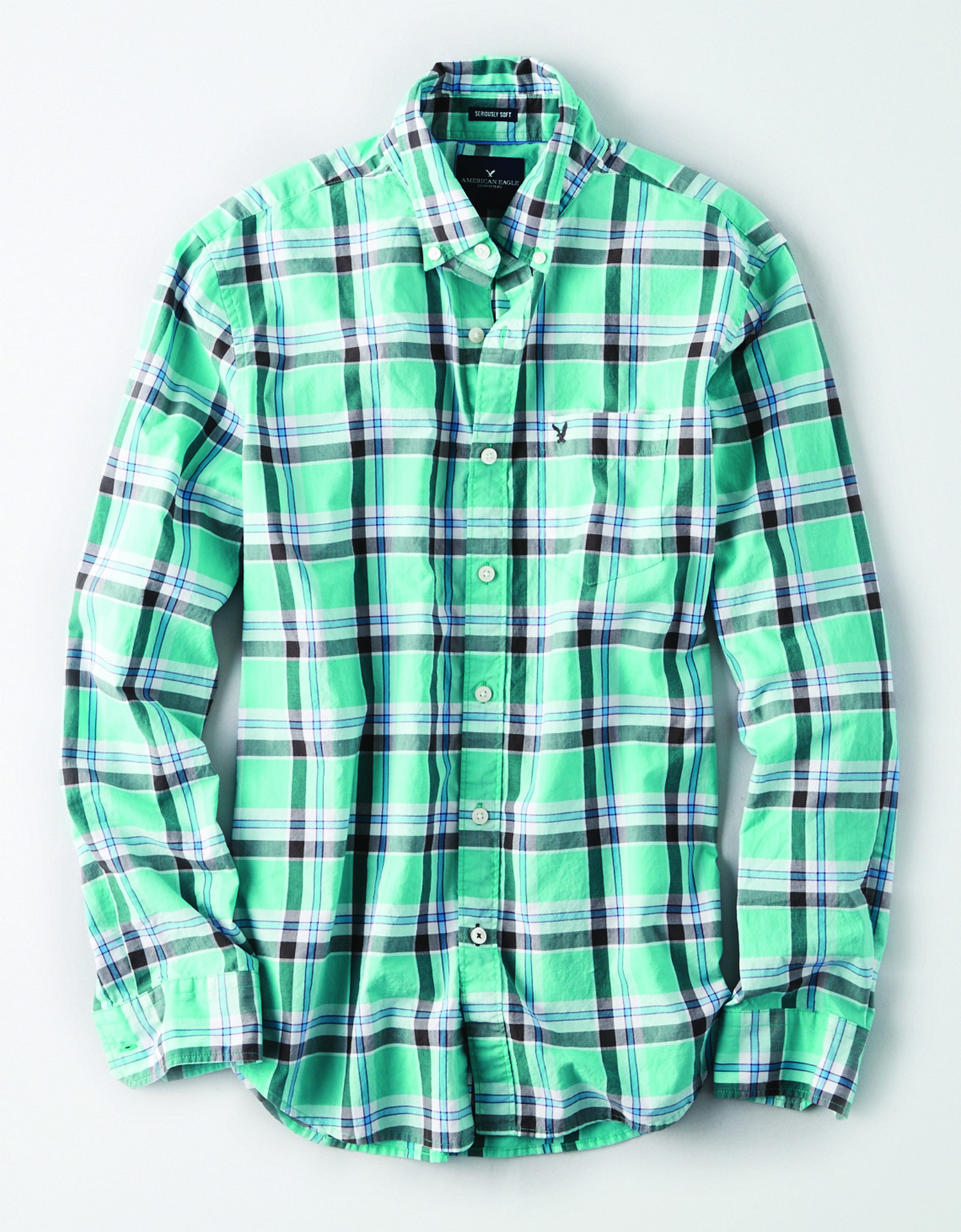 AE - INTL - Apparel - M - CF Oxford BD - Turquoise, grey and white plaid - grey embroidered eagle on left chest pocket KS *Tracked