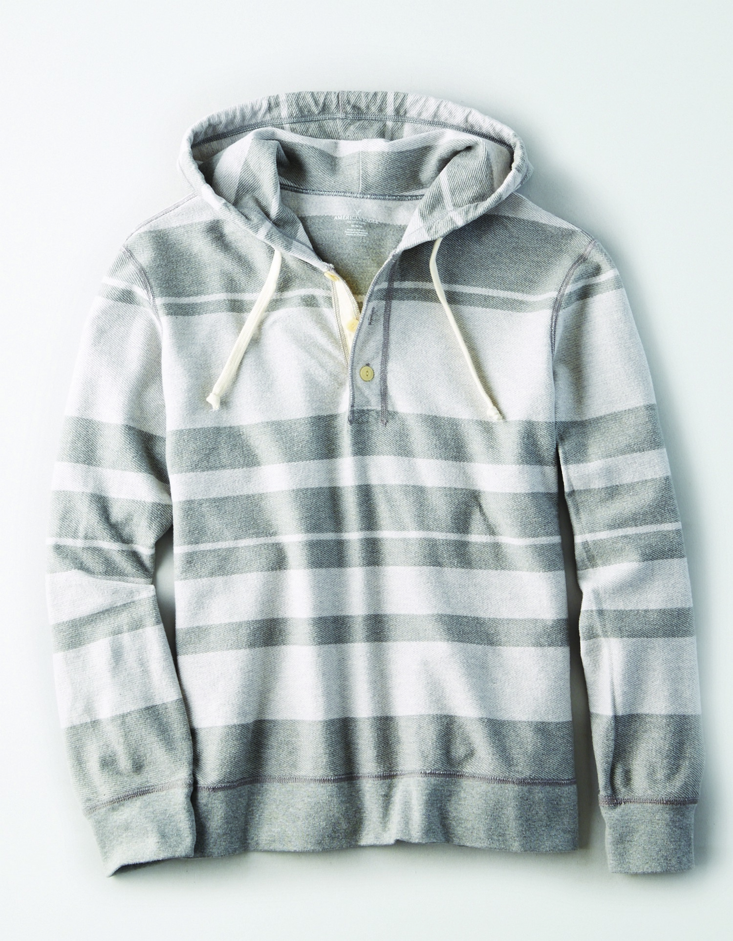 AE- M- FEB- APPAREL- BAHA HANLEY HOODIE- LIGHT AND DARKER SHADES OF GRAY STRIPPED AL *Tracked