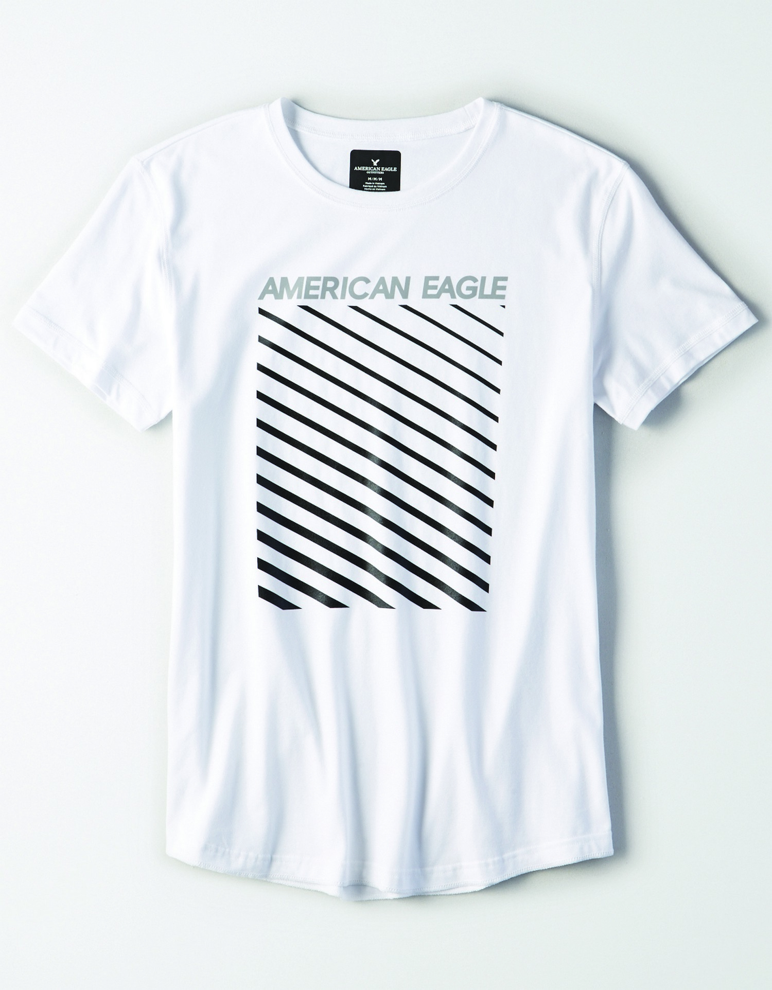 M- APPAREL- SS SET IN TEE WITH FACED CURVED HEM-FLEX CVC- SILVER AMERICAN EAGLE BLACK STRIPED- WHITE *Tracked
