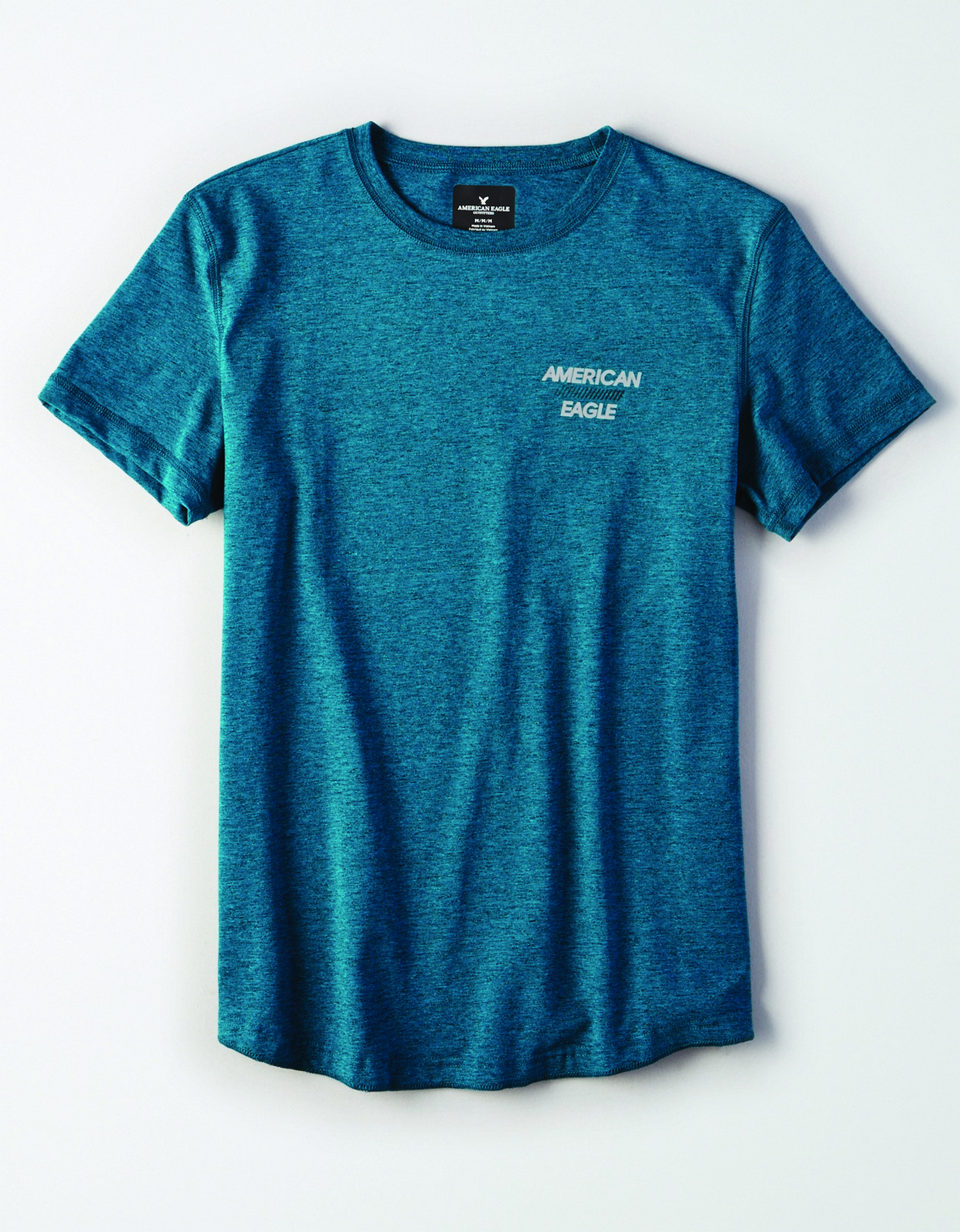 "M- APPAREL- SS SET IN TEE WITH FACED CURVED HEM-FLEX CVC- ""AMERICAN/// EAGEL""- TEAL *Tracked"