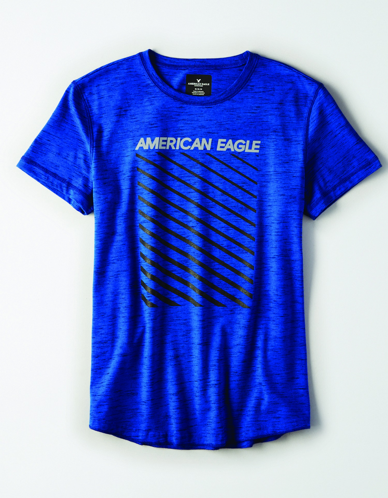 M- APPAREL- SS SET IN TEE WITH FACED CURVED HEM-FLEX CVC- SILVER AMERICAN EAGLE BLACK STRIPED- BLUE *Tracked