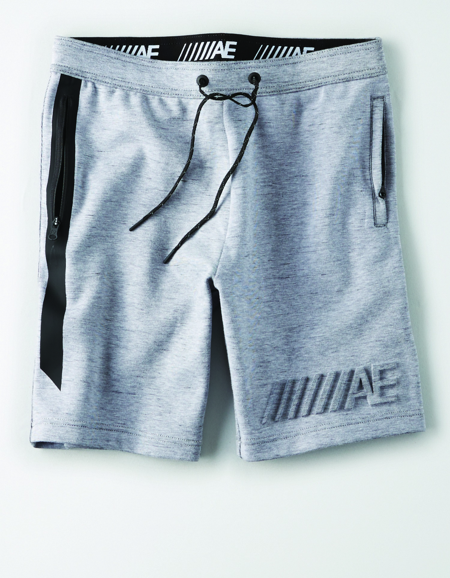 Ae INTL- M- Apparel-ACTIVE SHORT-light grey sweatshort with black bonding on pockets and raised ///AE graphic on the left leg BG *Tracked