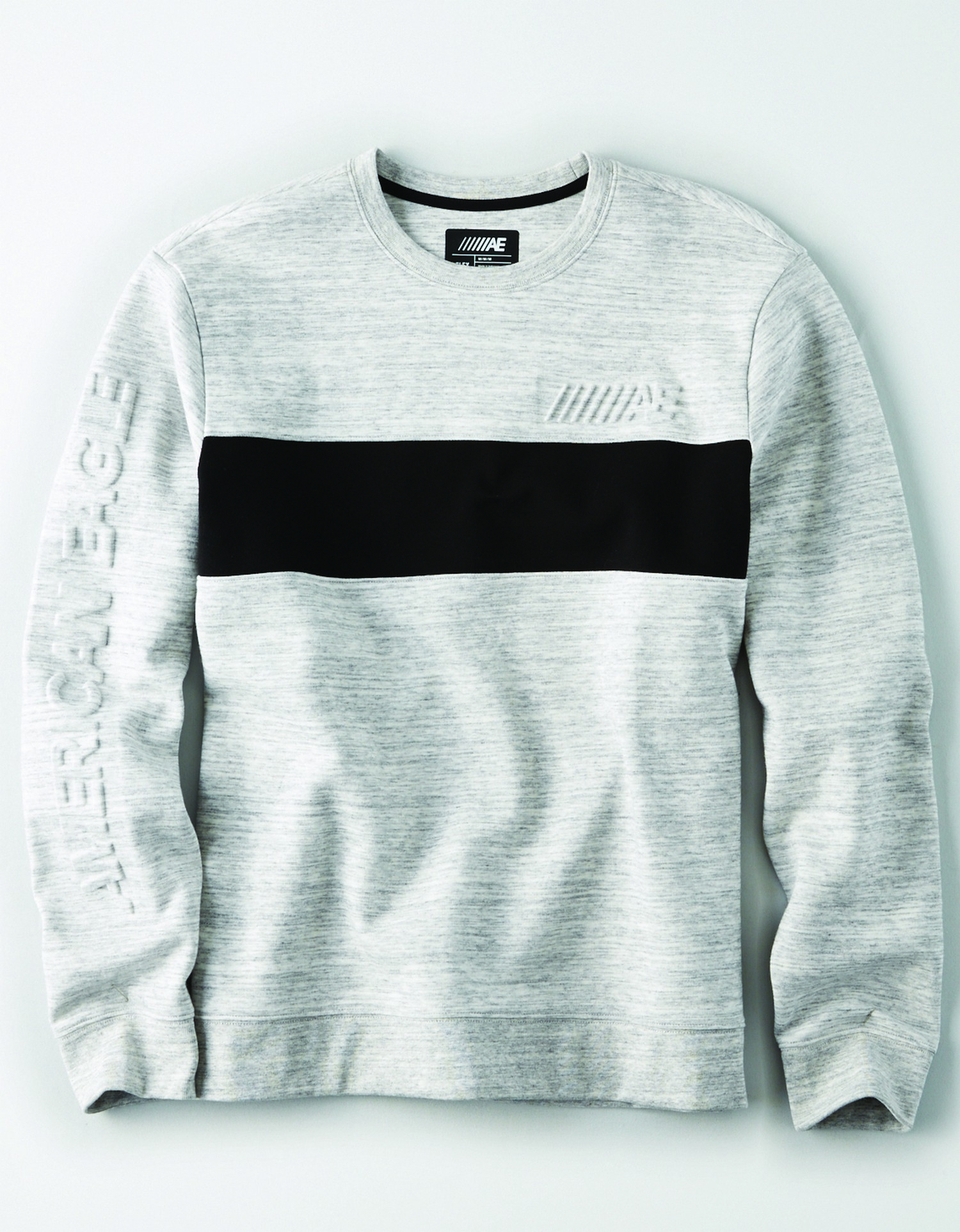 Ae INTL- M- Apparel-SWEATSHIRT-light white/heather grey crew neck with black colorblock stripe across the chest raised ////AE graphic on the left chest BG
