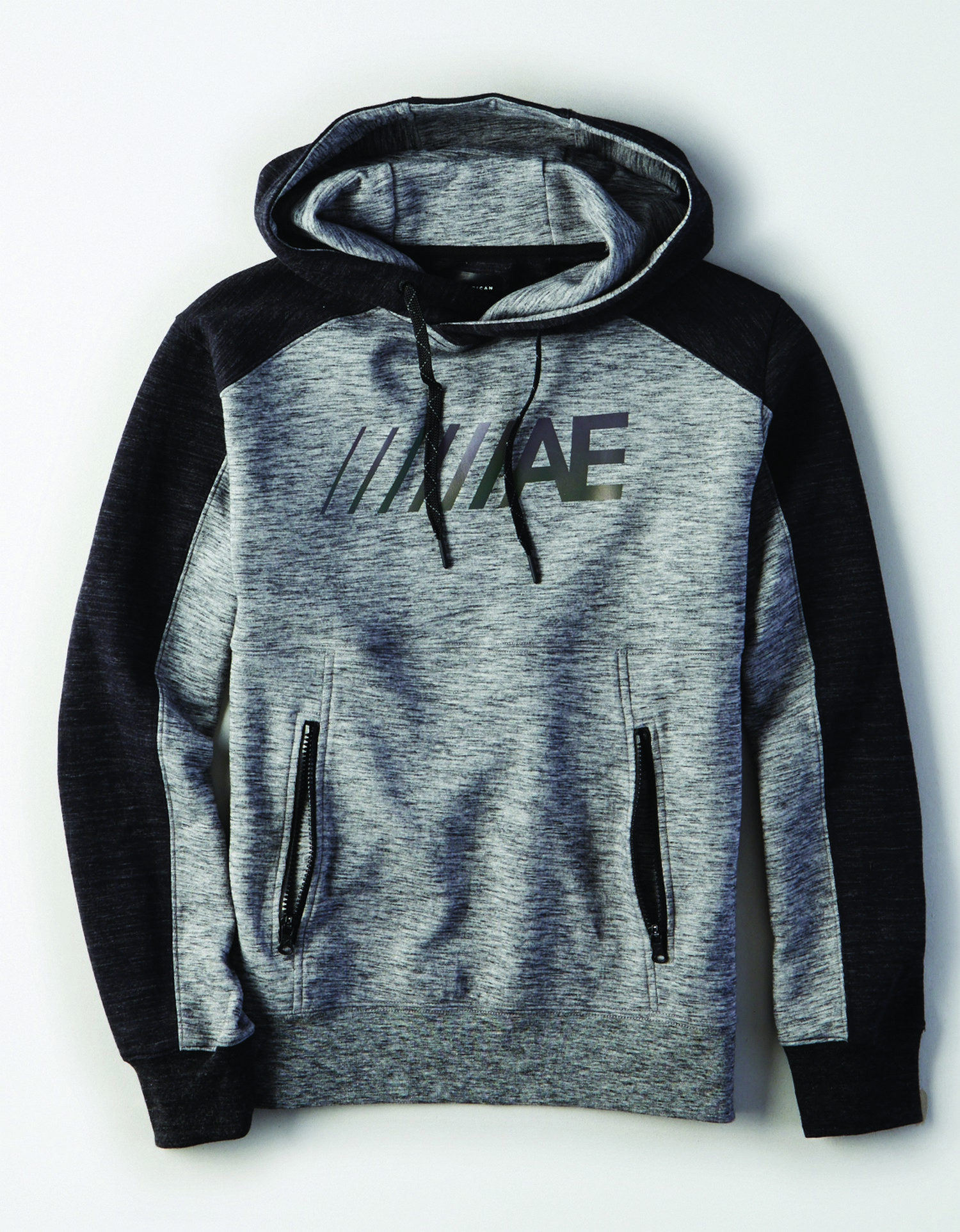 "M - Apparel - 9792 SET IN PO W SHOULDER SEAM - Heather Grey w/Charcoal Grey Stripes on shoulders - Black Drawstrings on hood - black zippers on front bocket - irredescent ""////AE"" on left chest *Tracked"