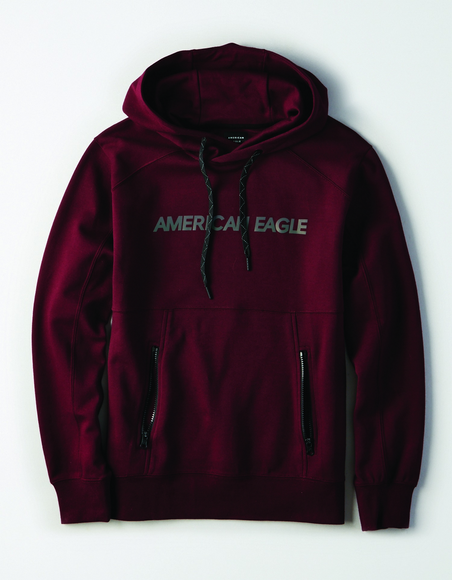"M - Apparel - 9792 SET IN PO W SHOULDER SEAM - Burgundy - Black Drawstrings on hood - black zippers on front bocket - irredescent ""American Eagle"" on chest *Tracked"