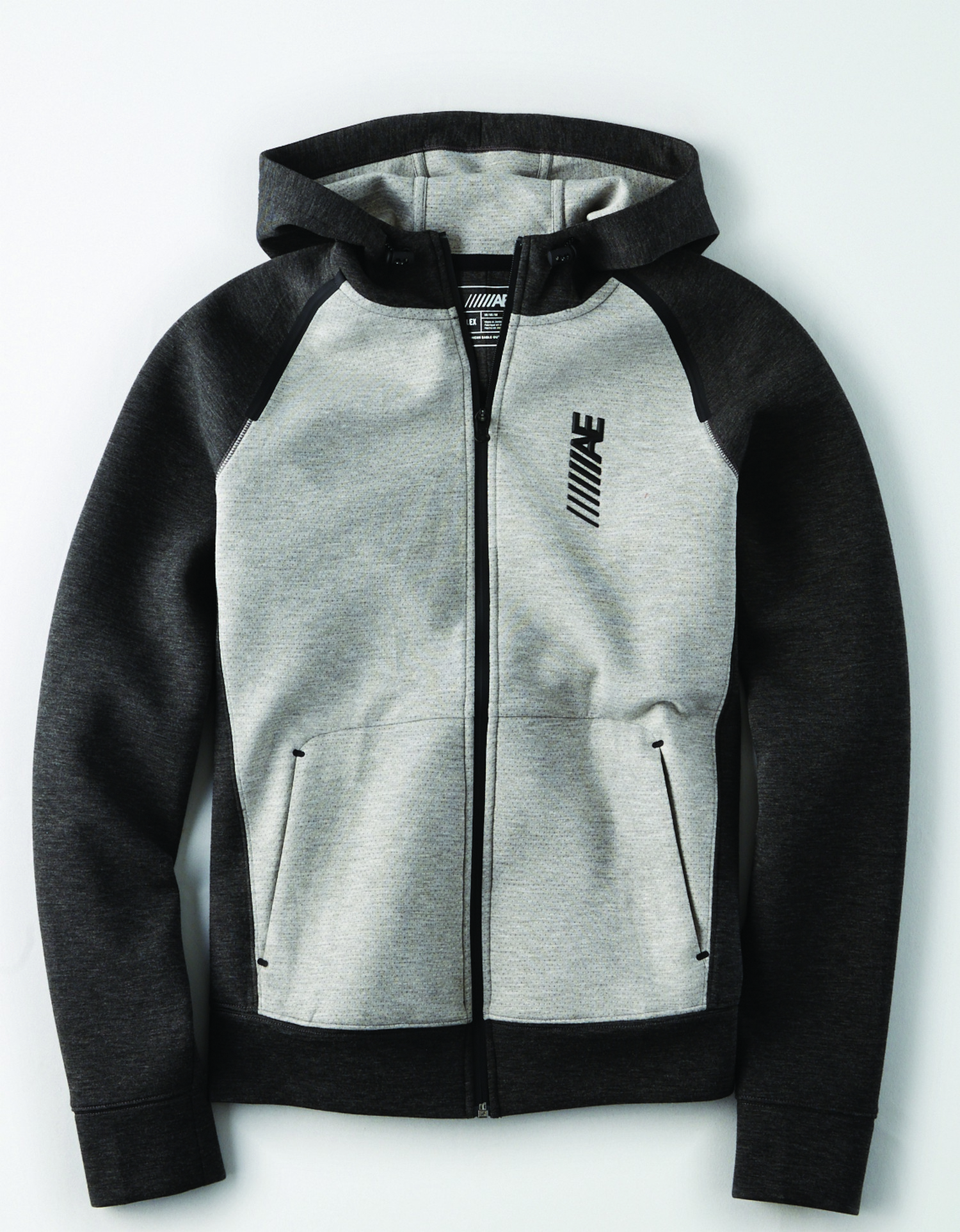 AE - M - Apparel - 9791 FZ W CURVED KANGA PKT - Grey body - Charcoal Grey sleeves, side panels, and trim - hooded - raised rubber ////AE graphic on left chest - black zipper BG *Tracked