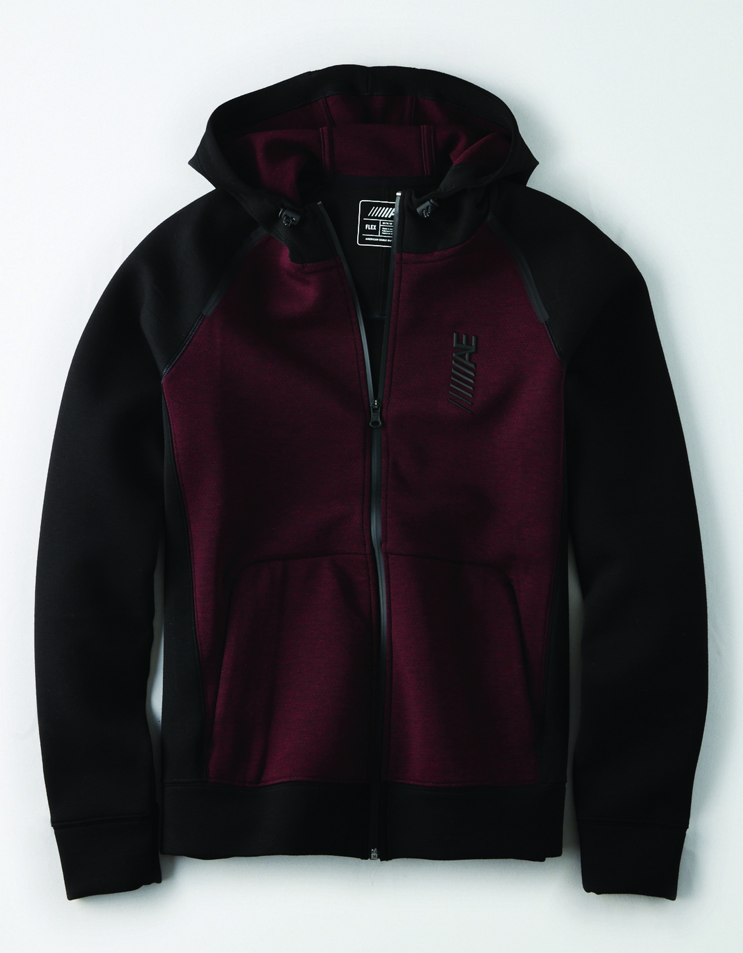 AE - M - Apparel - 9791 FZ W CURVED KANGA PKT - Burgundy body - black sleeves, side panels, and trim - hooded - raised rubber ////AE graphic on left chest - black zipper BG *Tracked