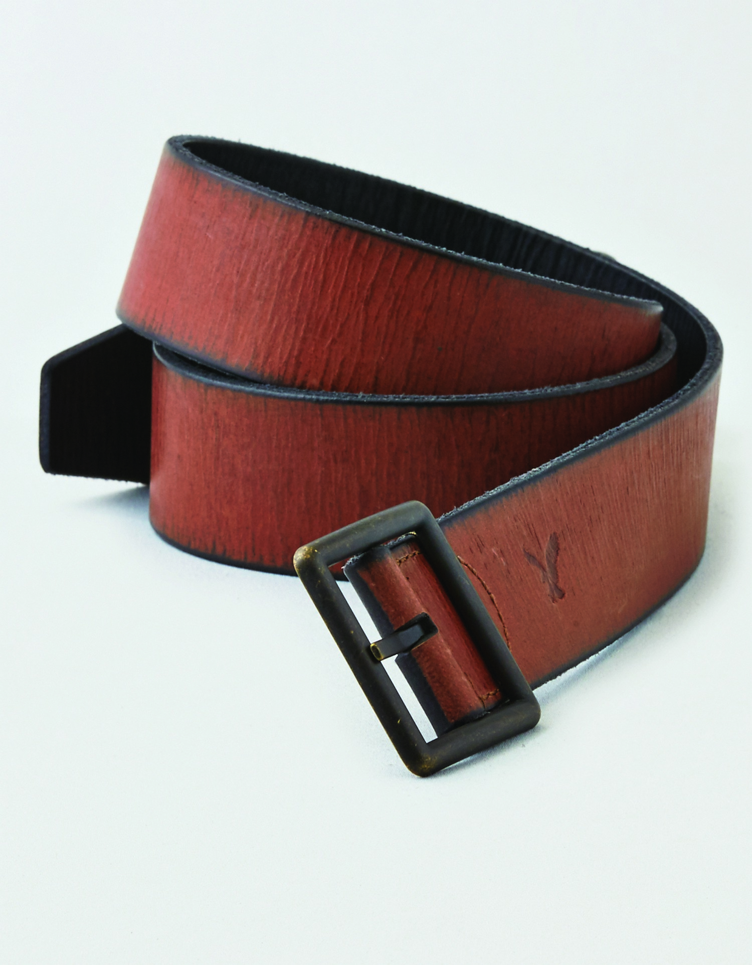 AE - M - Accessories - SQUARE BUCKLE REVERSIBLE - Brown leather belt - Dirty square brass buckle - black underside BG *Tracked
