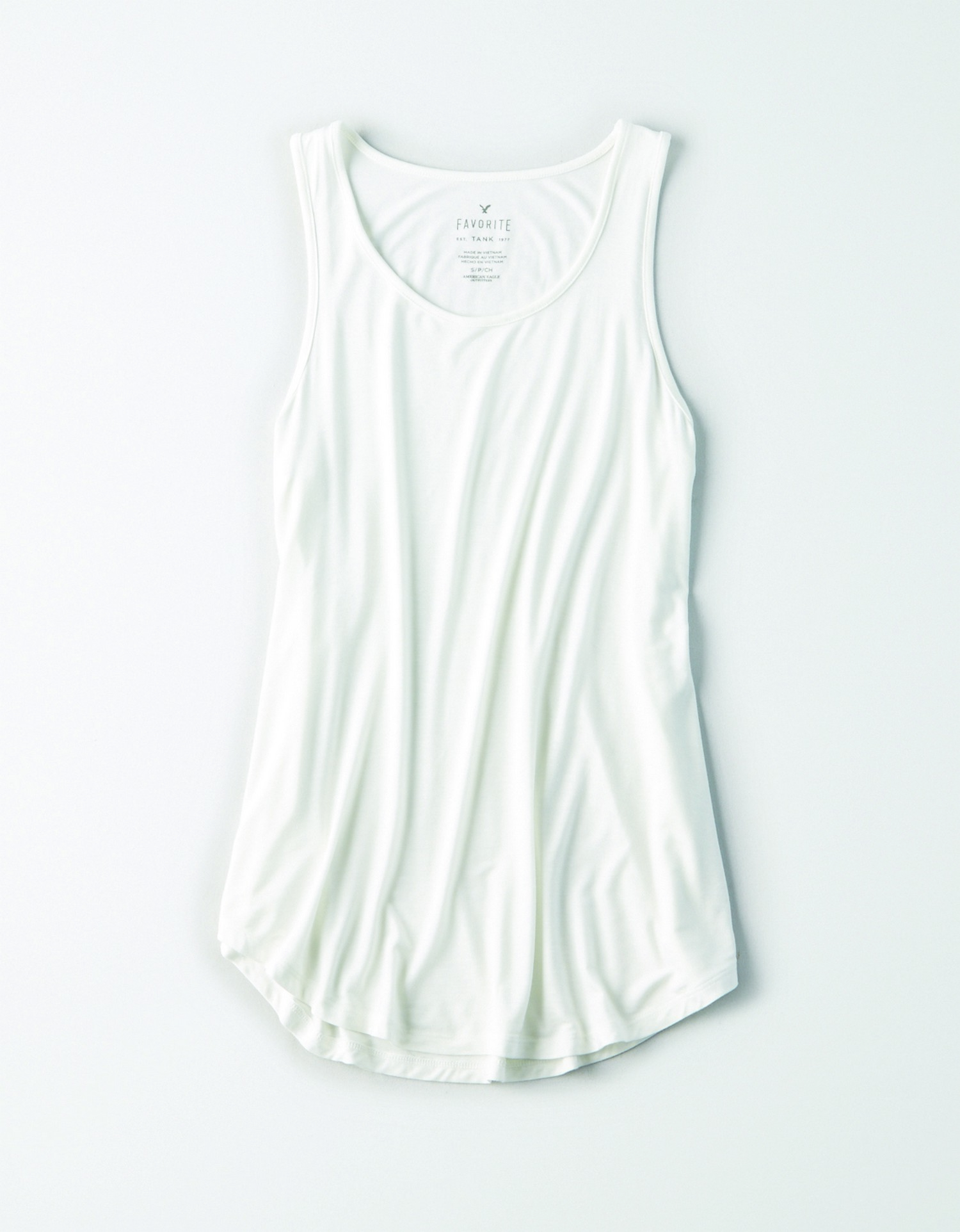 AE - W - Apparel - SCOOP NK THIN BIND FAV TANK-PC DYE - White - Solid Color - Soft & Sexy AL
