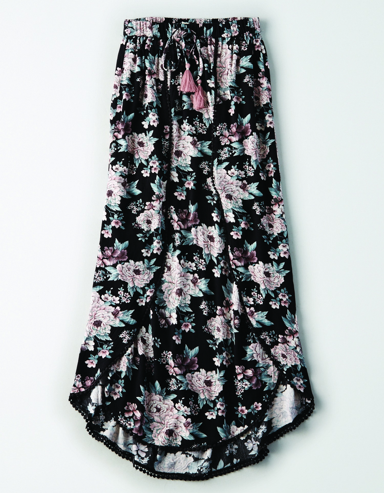 AE - W - Apparel - 2192 POM DETAIL MAXI W TIE - ana floral Black w/Faded teal leaves and mauve flower printed allover - fabric beaded trim - Tie Waist w/Mauve Tassles JP *Tracked