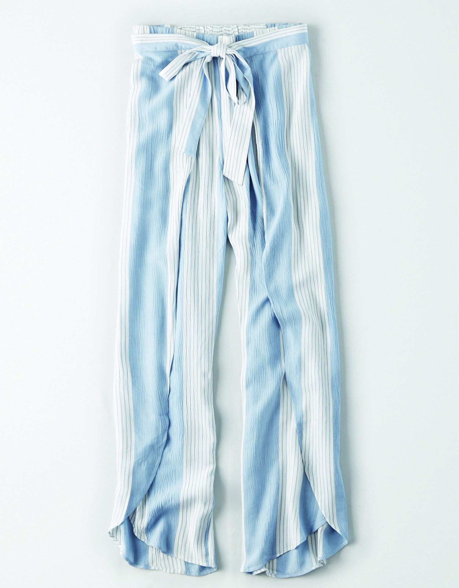 AE - INTL - Apparel - W - 2042 KNOT TIE TULIP PANT - Blue w/White vertical stripes - tie waist JP