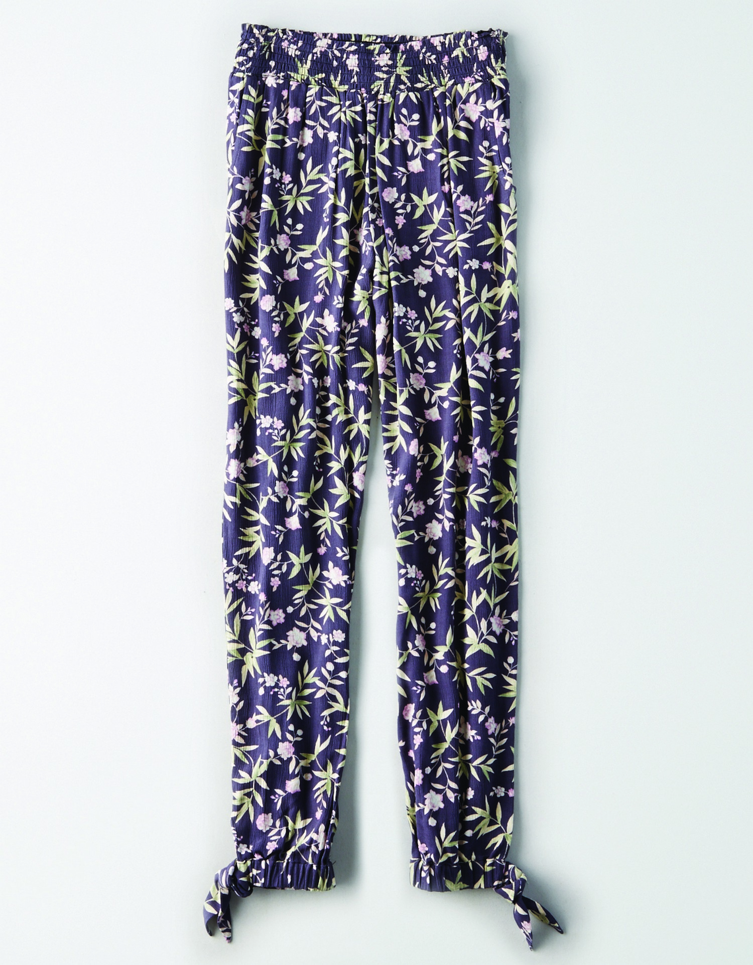 AE - INTL - Apparel - W - Jogger Pant - Dark grey w/Green and pink floral leaf print allover - ties on ankles - light flow fabric KS