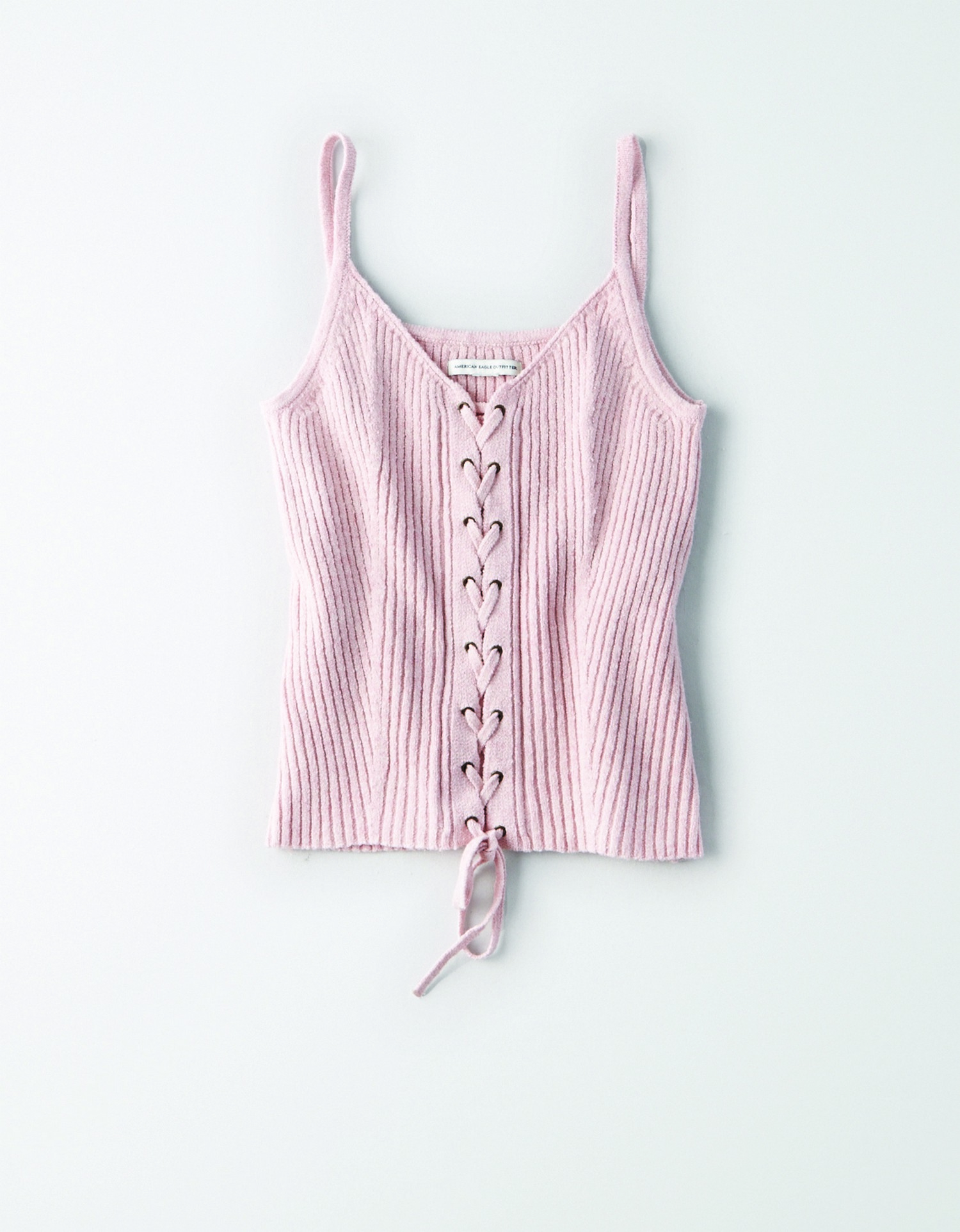 AE - W - Apparel - Corset Ribbed Knit Tank - (outfit w/ s/8080/8404) - Pink - Solid Color - Lace up front and tie at bottom -  JP *Tracked