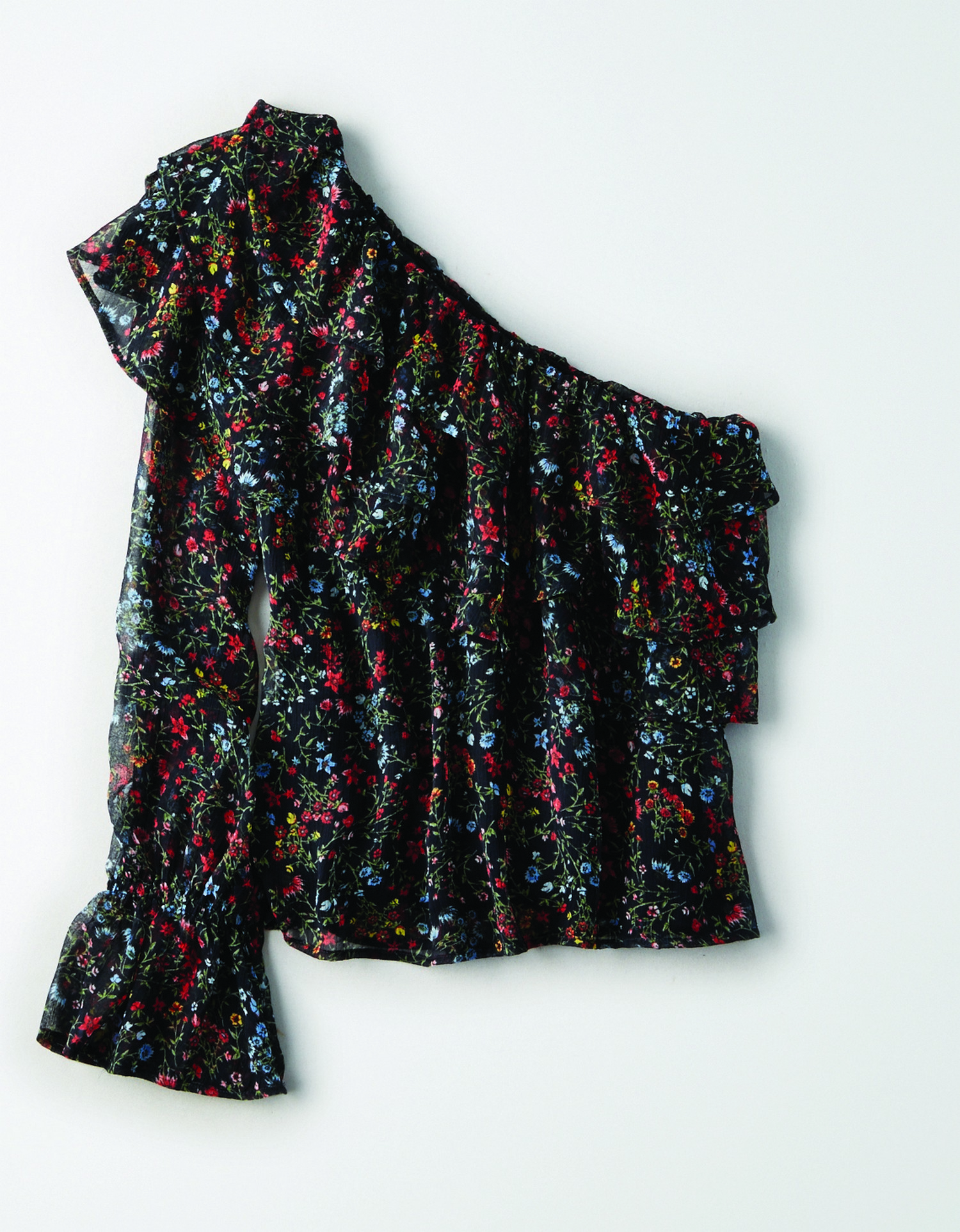 AE - W - Apparel - ONE SHOULDER FLORAL RUFFLE TOP - Black w/Red and blue small floral print allover - Three Tier ruffle flaps around top - Solid Black liner BG *Tracked