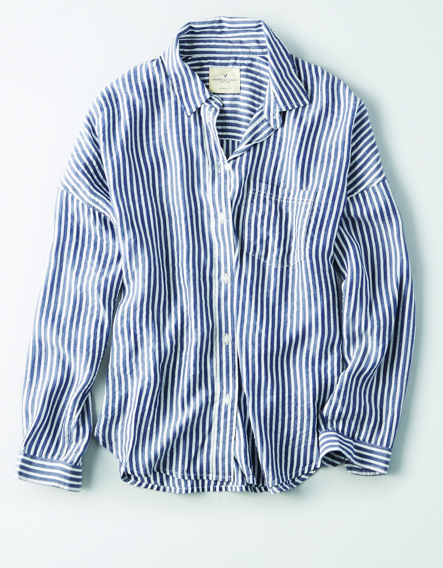 AE - W - Apparel - STRIPED DOLMAN - Navy Blue and White Vertical Stripes - Button Down - Left Chest pocket - White Buttons BG *Tracked