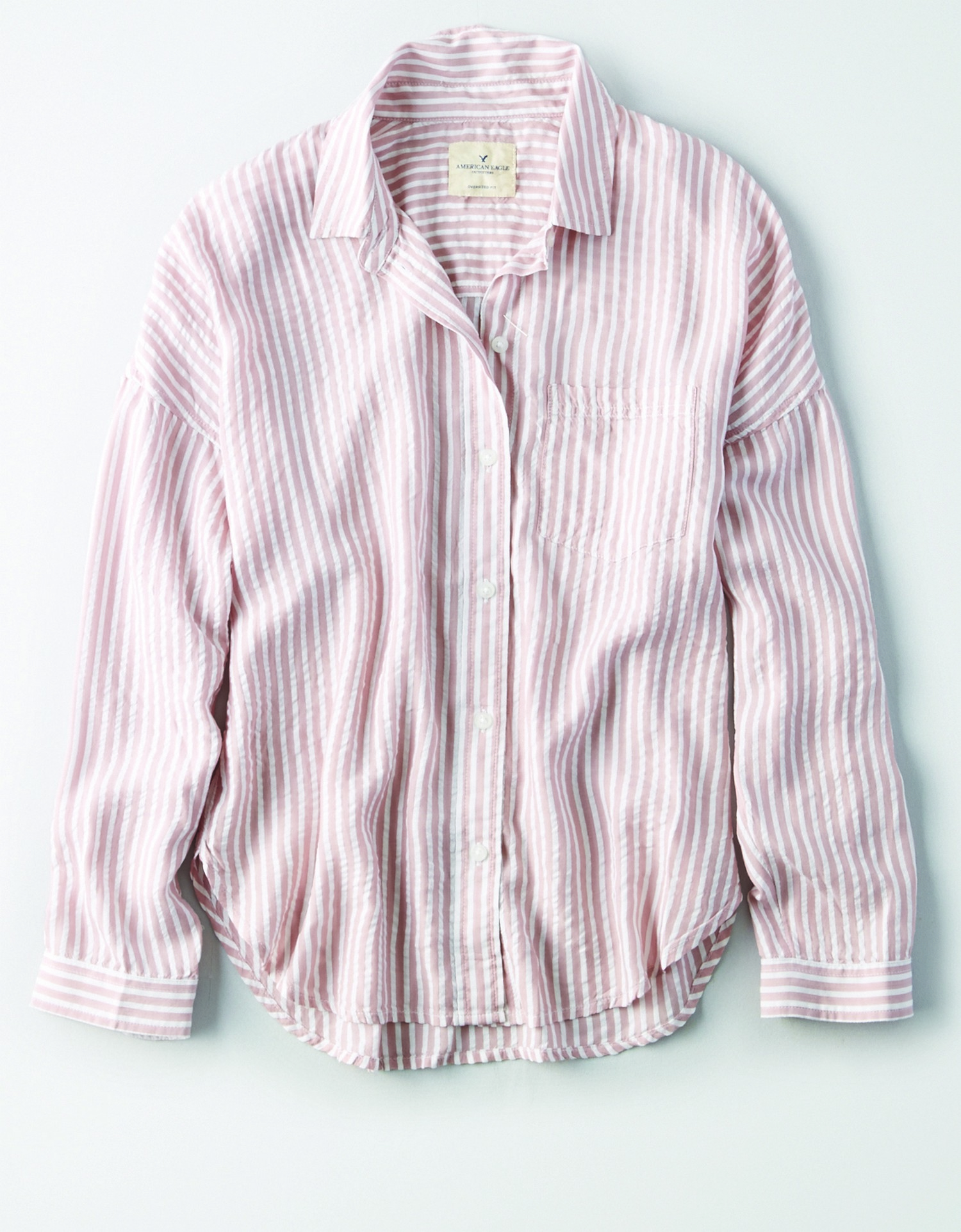 AE - W - Apparel - STRIPED DOLMAN - Light Pink and White Vertical Stripes - Button Down - Left Chest pocket - White Buttons BG *Tracked