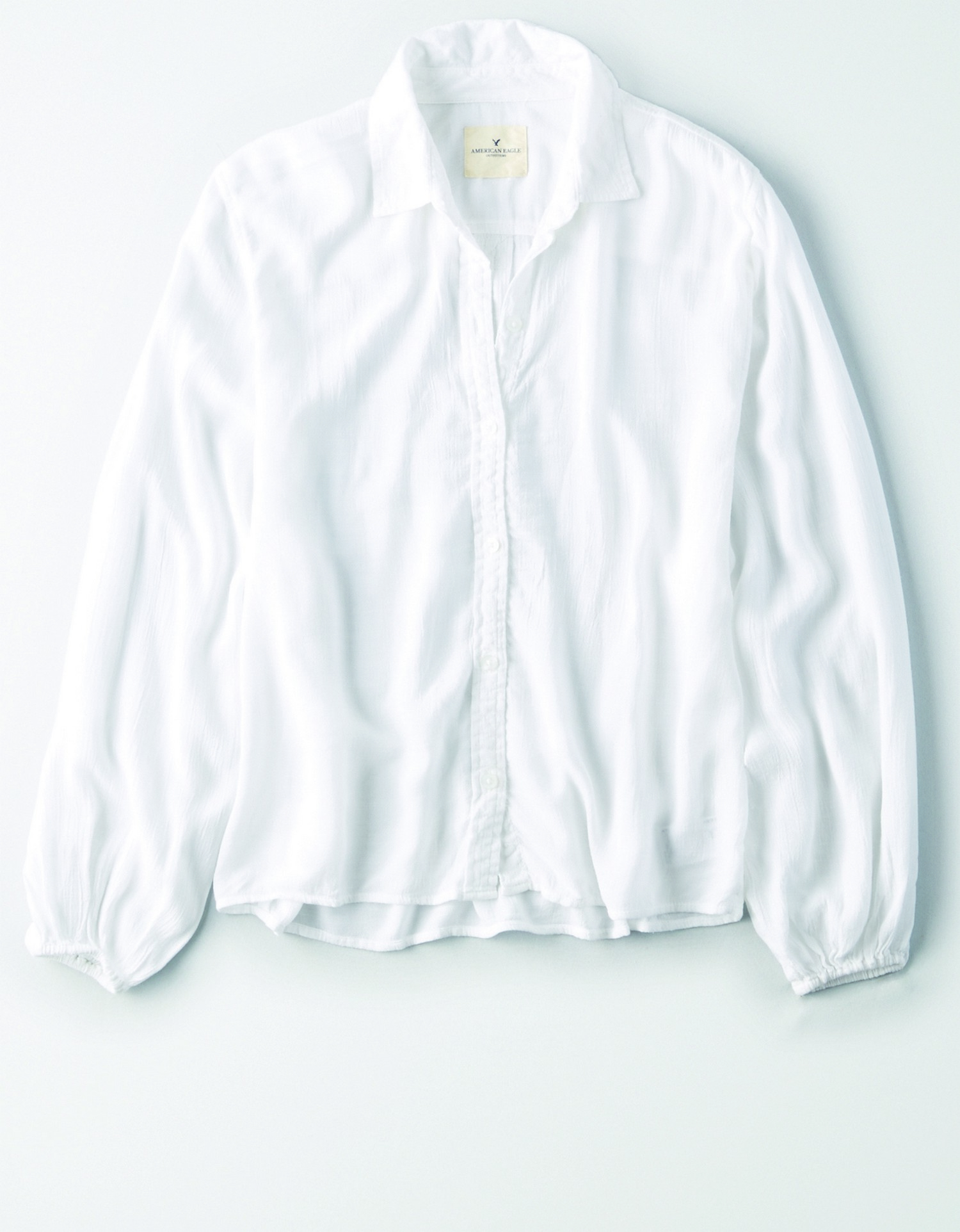 AE - W - Apparel - BUTTONDOWN - White - Solid Color - elastic cuff - slouchy loose button down BG *Tracked