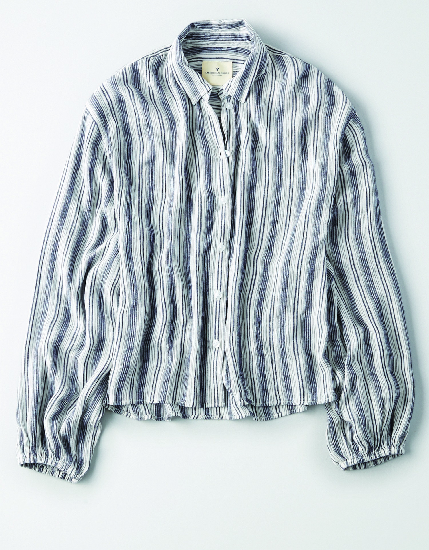 AE - W - Apparel - PUFF SLEEVE STRIPED BUTTONDOWN - Blue and white vertical stripes - White buttons - Loose and slouchy button down BG *Tracked