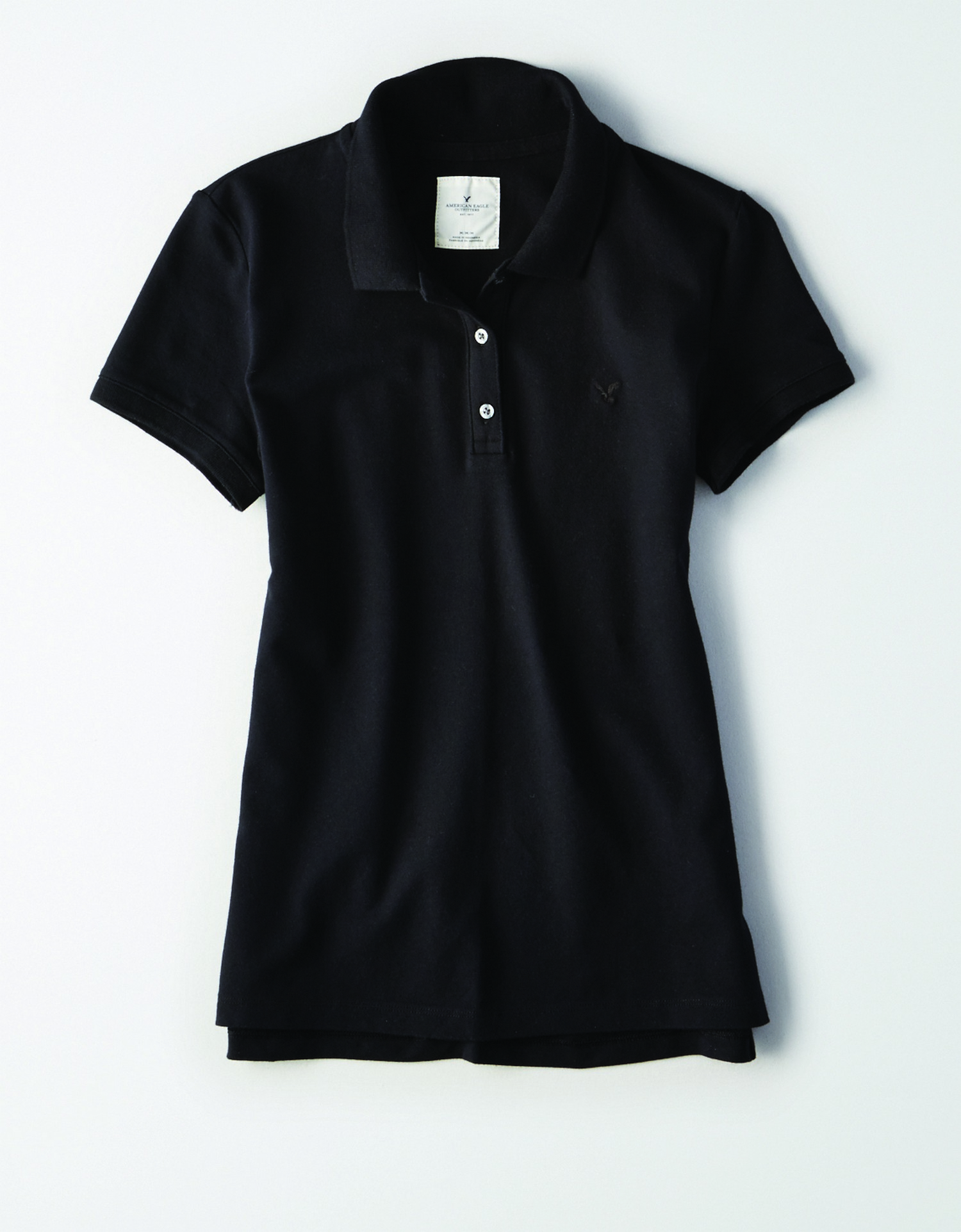 AE - INTL - Apparel - W - Polo - Black - Solid Color - Black Embroidered eagle on left chest JP