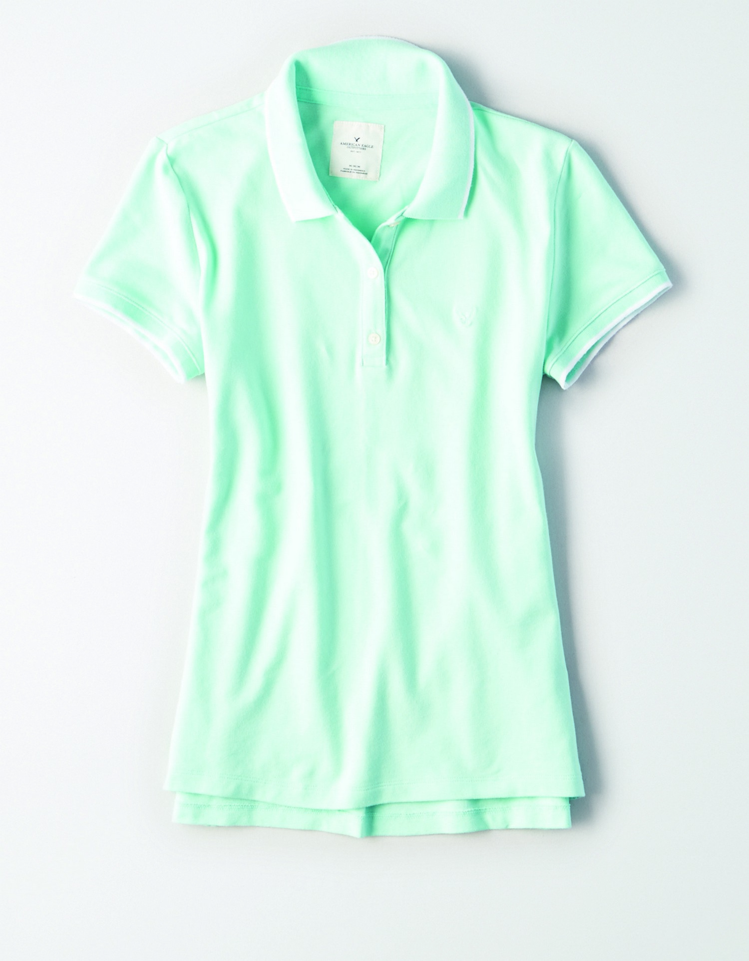 AE - INTL - Apparel - W - Tipped Polo - Mint Green with white Tipping - Mint Green embroidered eagle on left chest JP