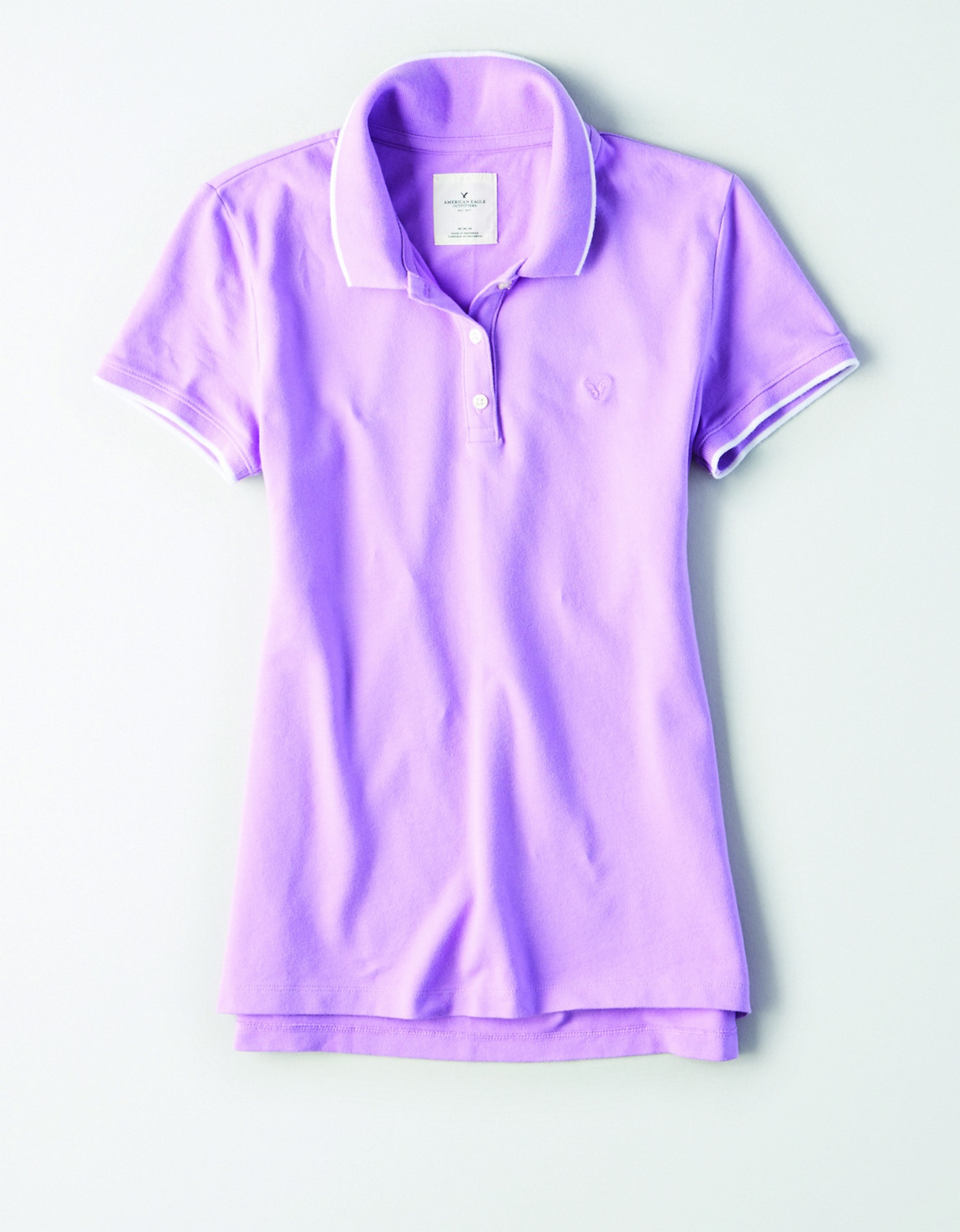 AE - INTL - Apparel - W - Tipped Polo - Light Purple with white Tipping - Light Purple embroidered eagle on left chest JP