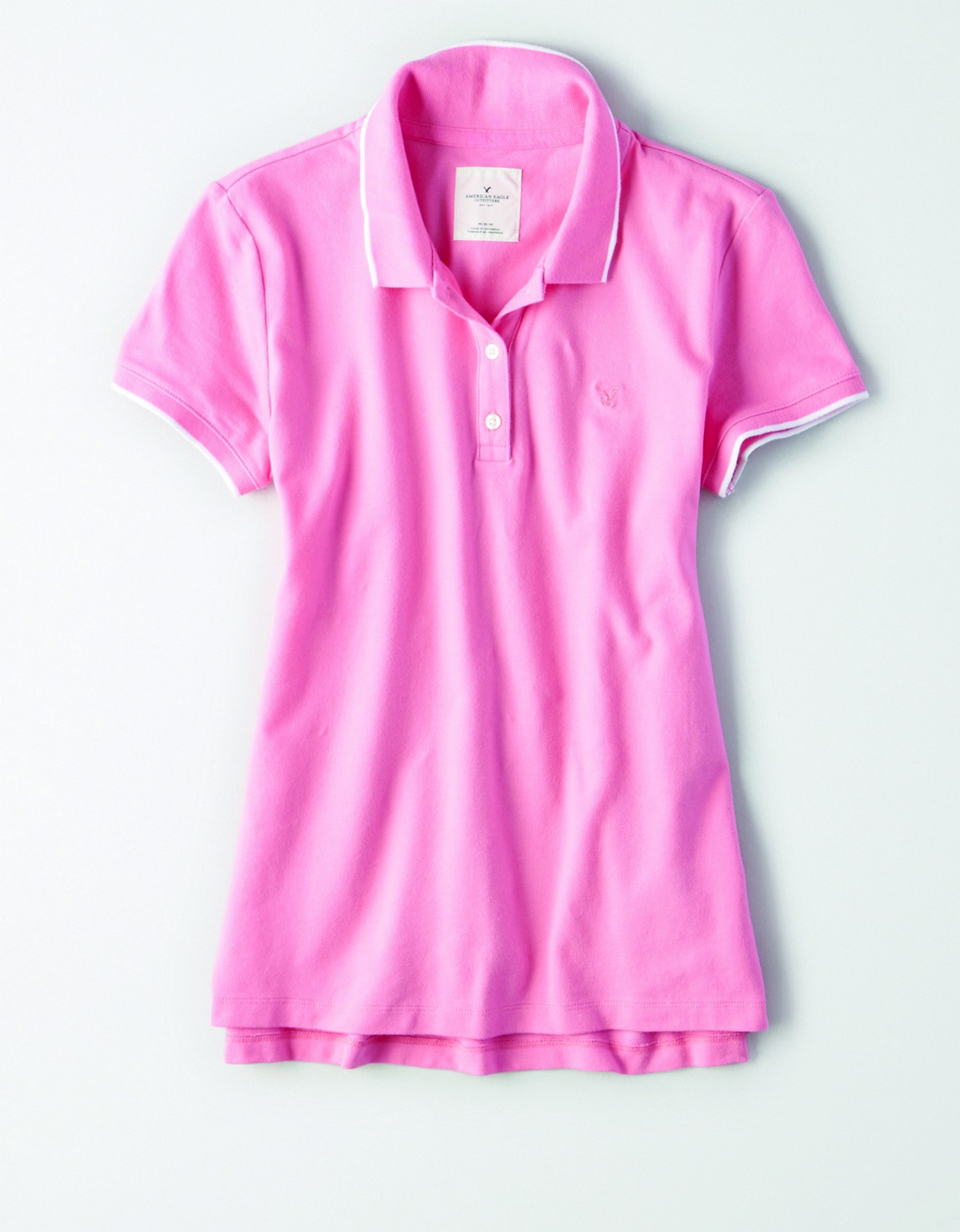 AE - INTL - Apparel - W - Tipped Polo - Pink with white Tipping - Pink embroidered eagle on left chest JP