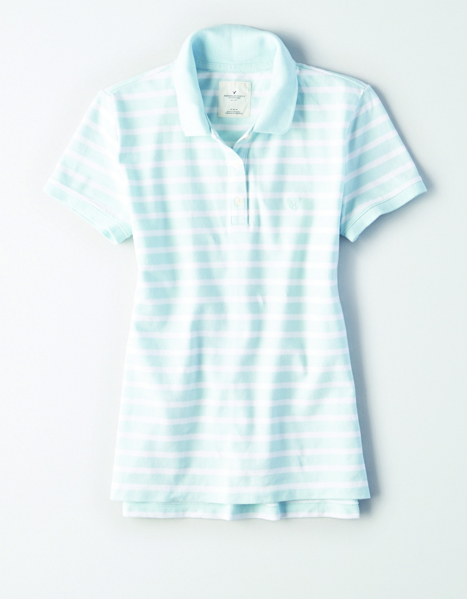 AE - INTL - Apparel - W - Striped Polo - Light Blue with white horizontal stripes - light blue embroidered eagle on left chest JP