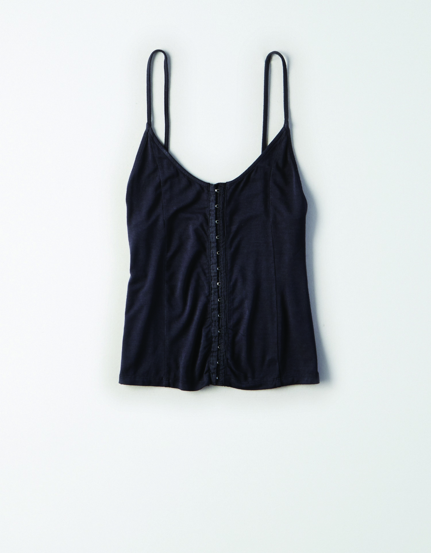 AE - W - Apparel - HOOK AND EYE FIRST ESSENTIAL TANK SOLIDS - Washed Black - Latch up front - tank AL