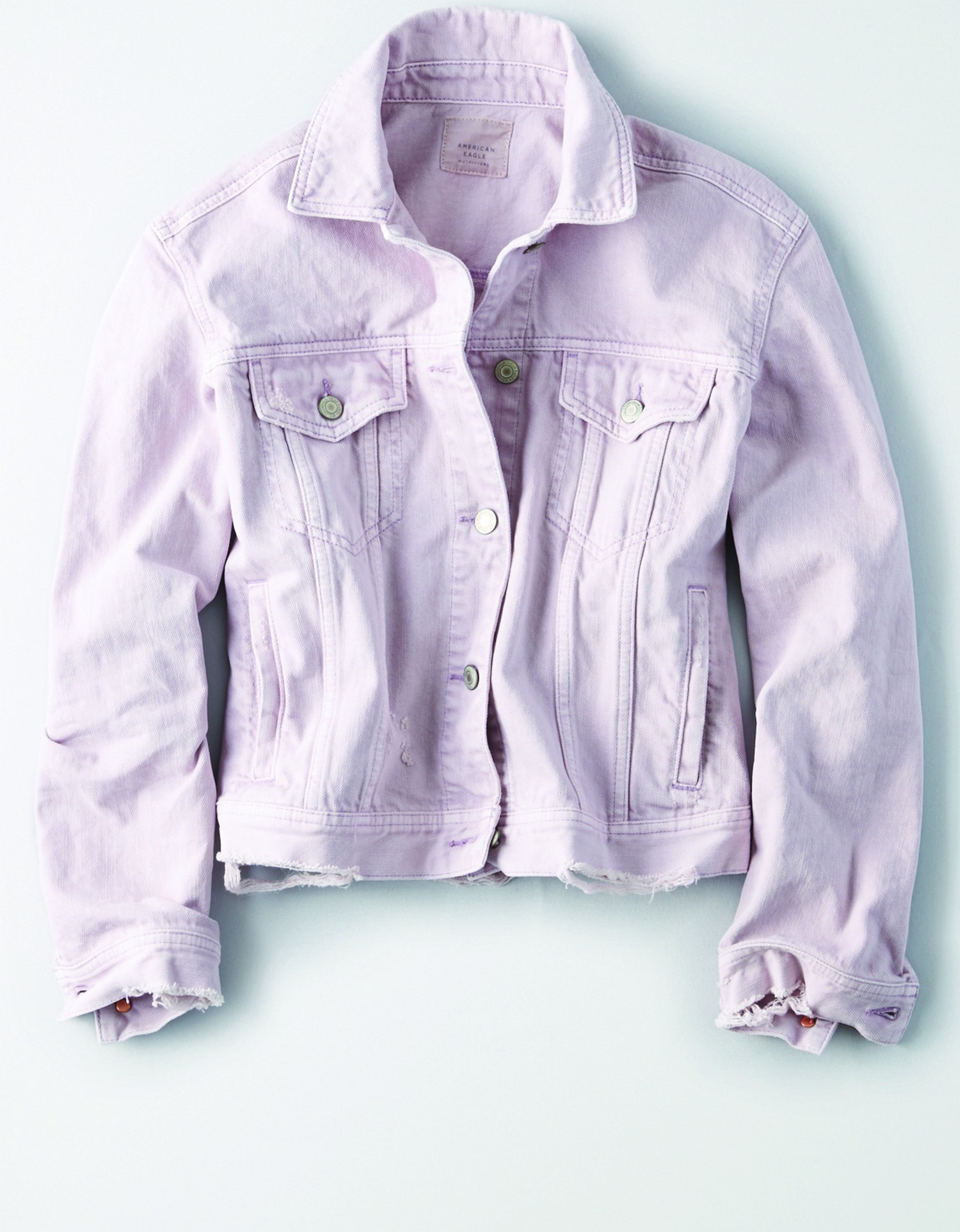 AE - W - Apparel - LAVENDER CLASSIC DENIM JACKET - Lavender Wash - Silver Buttons - Light Destroy around Bottom Fringe - Two Chest Pockets BG *Tracked