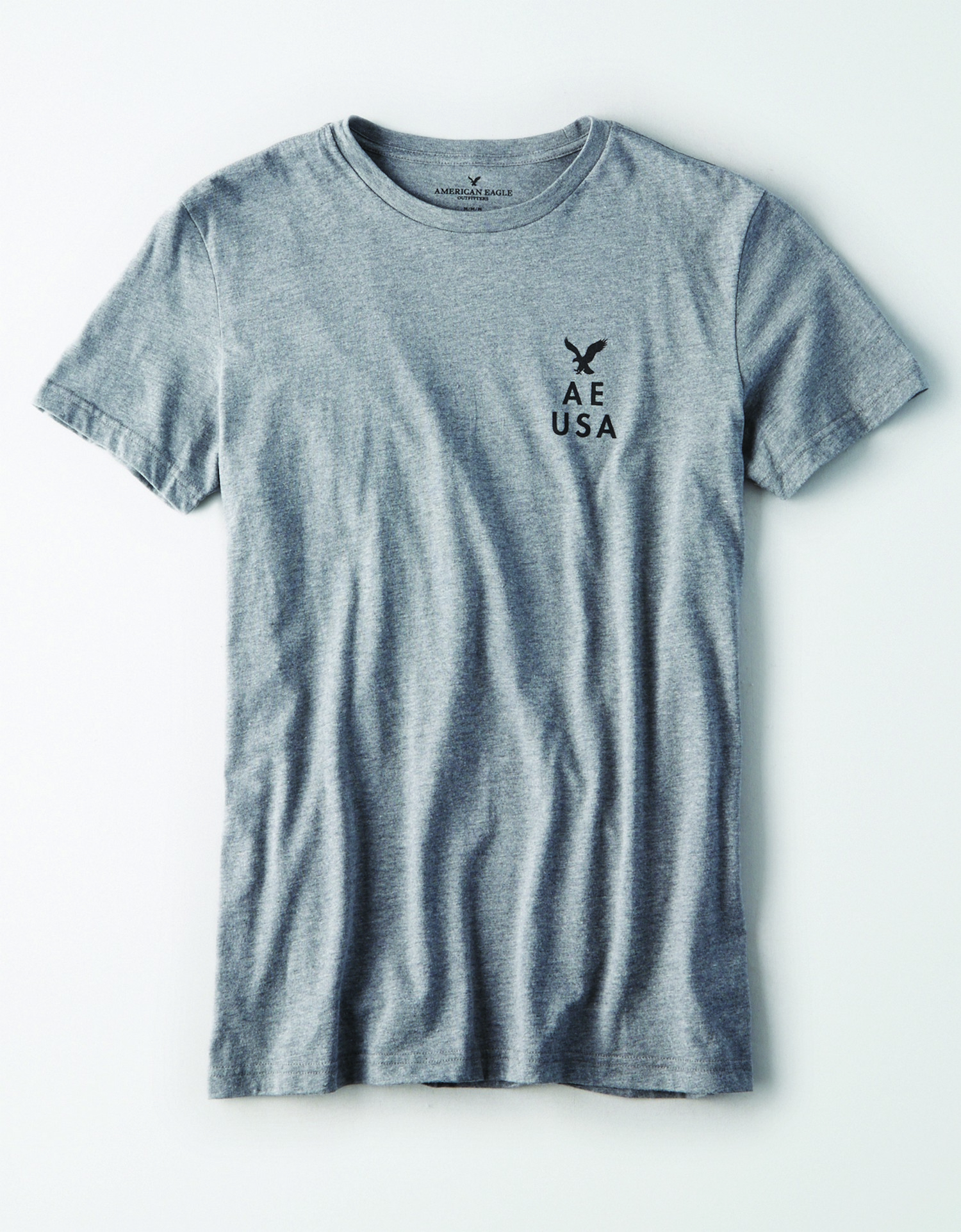 Ae- M-S/S VALUE TEE- grey with black AE USA and eagle graphic on the left chest BG *Tracked