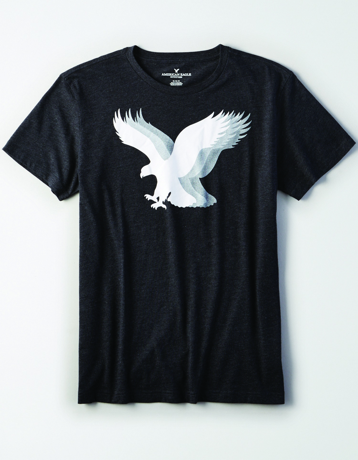 AE - M - Apparel - SS VALUE TEE - Charcoal Grey - chite and grey layered eagle graphic on chest JP *Tracked