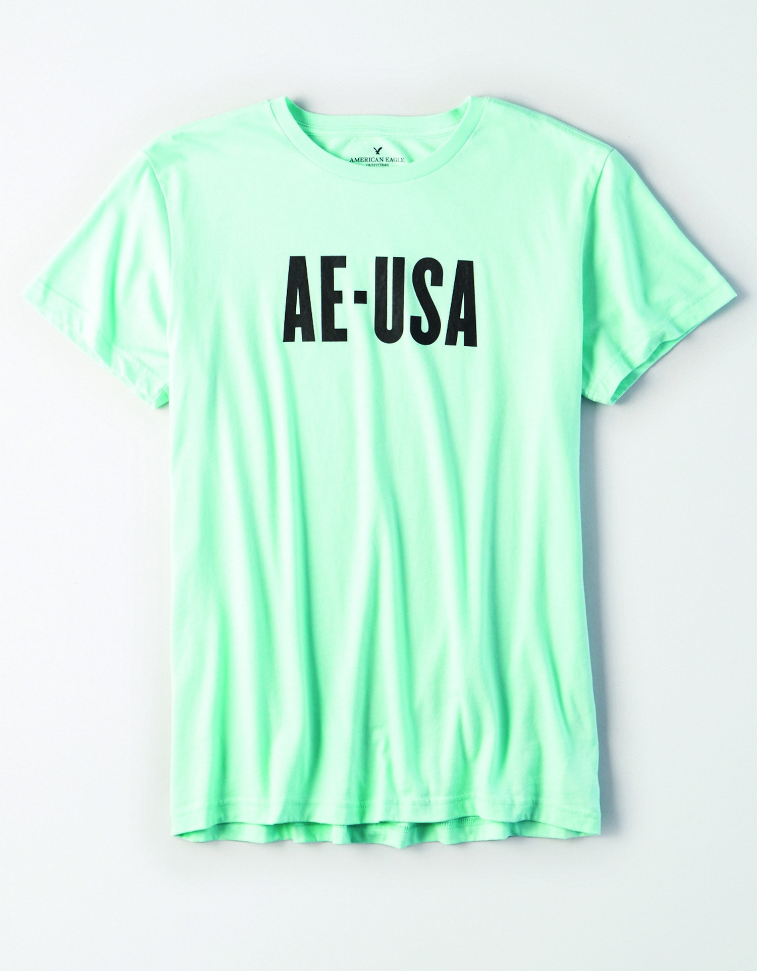 Ae- M-S/S VALUE TEE-mint green with black AE-USA large graphic across the chest JP *Tracked