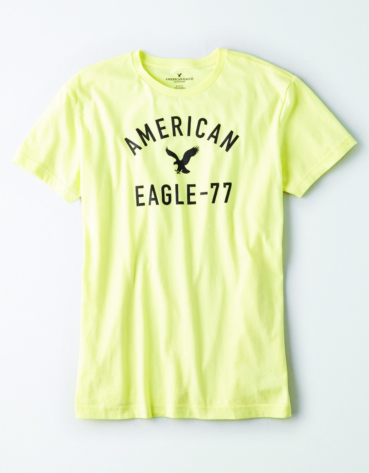 Ae- M-S/S VALUE TEE- light yellow with black AMERIVAN EAGLE -77 and eagle grapic on the front BG *Tracked
