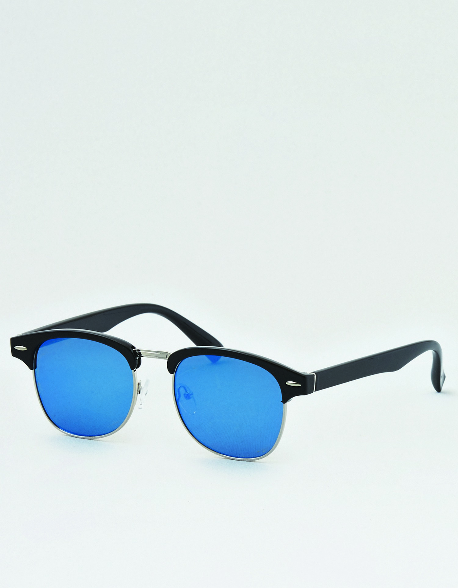 AE- W- FEB- ACCESSORIES- SUNGLASSES- BLUE CLUB SUNGLASSES- BLACK FRAMES- REFLECTIVE BLUE LENSE- SILVER HARDWARE JP *Tracked