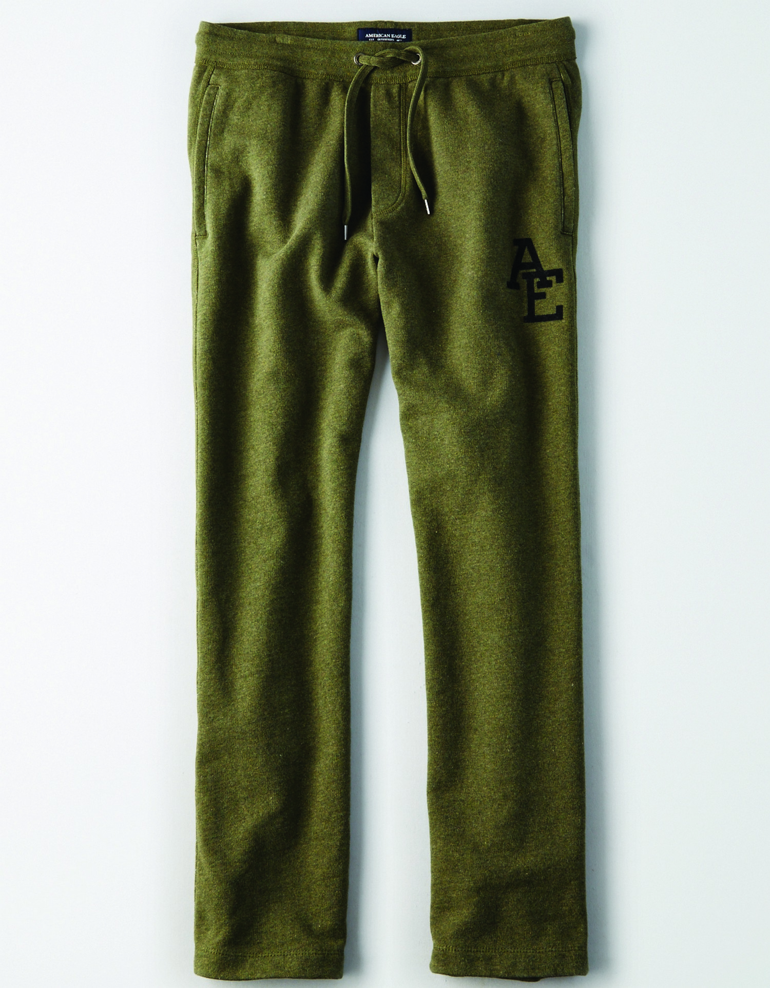"AE - INTL - Apparel - M - Relaxed Jogger - Olive Green - Solid Color - fleece - black felt graphic on left leg ""AE"" KS *Tracked"