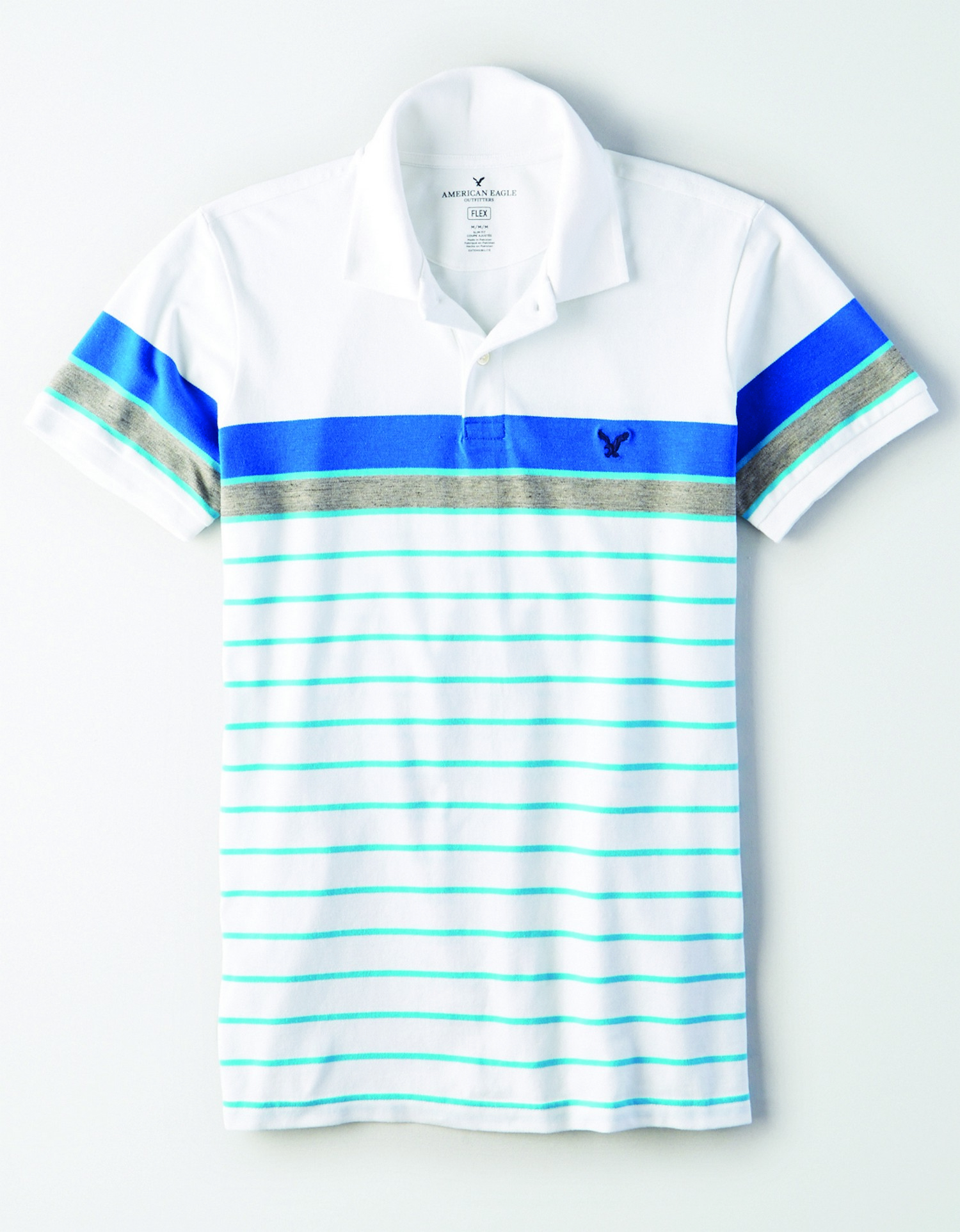 AE - INTL - Apparel - M - Slim Stripe Polo - White - Cobalt Blue and heather grey chest stripe - thine horizontal turquoise stripes KS *Tracked