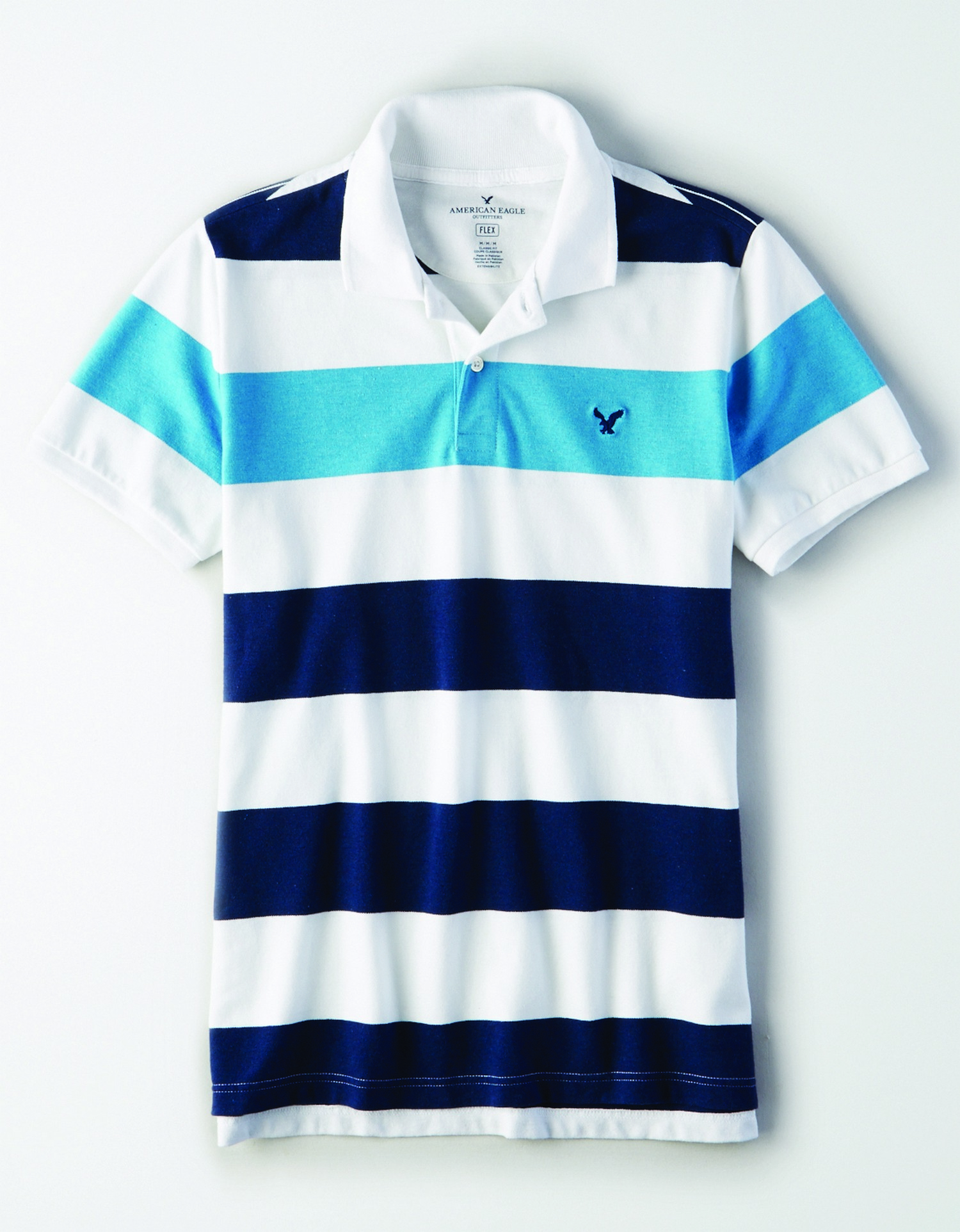 AE - INTL - Apparel - M - SF Stripe Polo - White, navy blue, and light blue horizontal thick stripes - navy blue embroidered eagle on left chest KS *Tracked