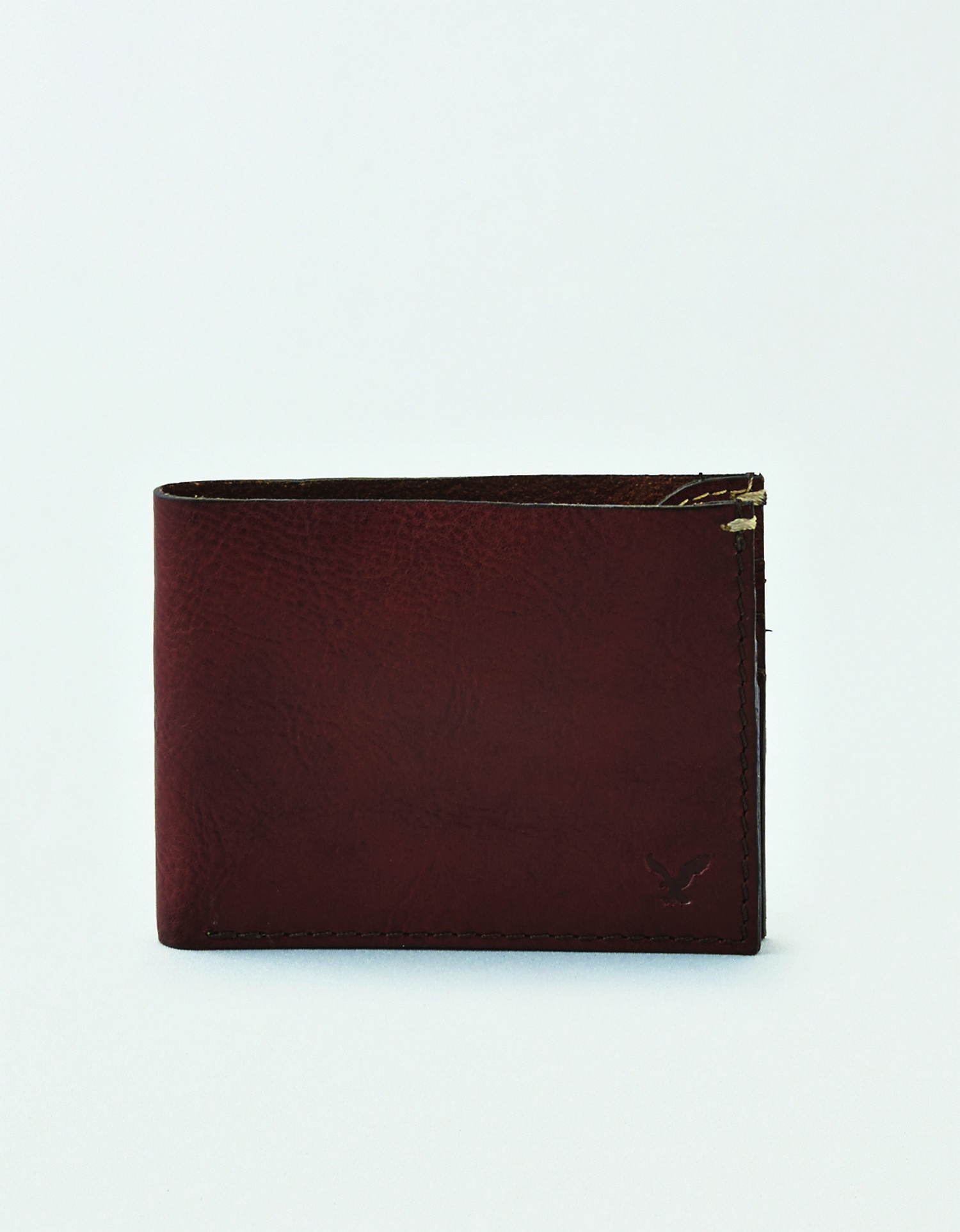 AE - M - Accessories - BIFOLD LEATHER WALLET - Dark Brown Leather - pressed small eagle on bottom right front BG *Tracked