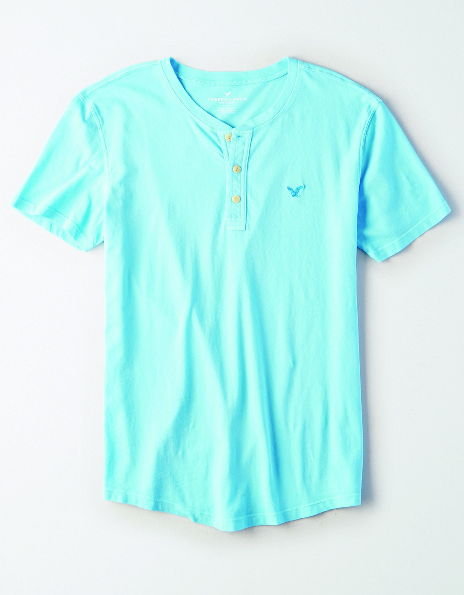 AE - INTL - Apparel - M - SS Henley Tee - Baby Blue - Blue embroidered eagle on left chest - cream buttons BG