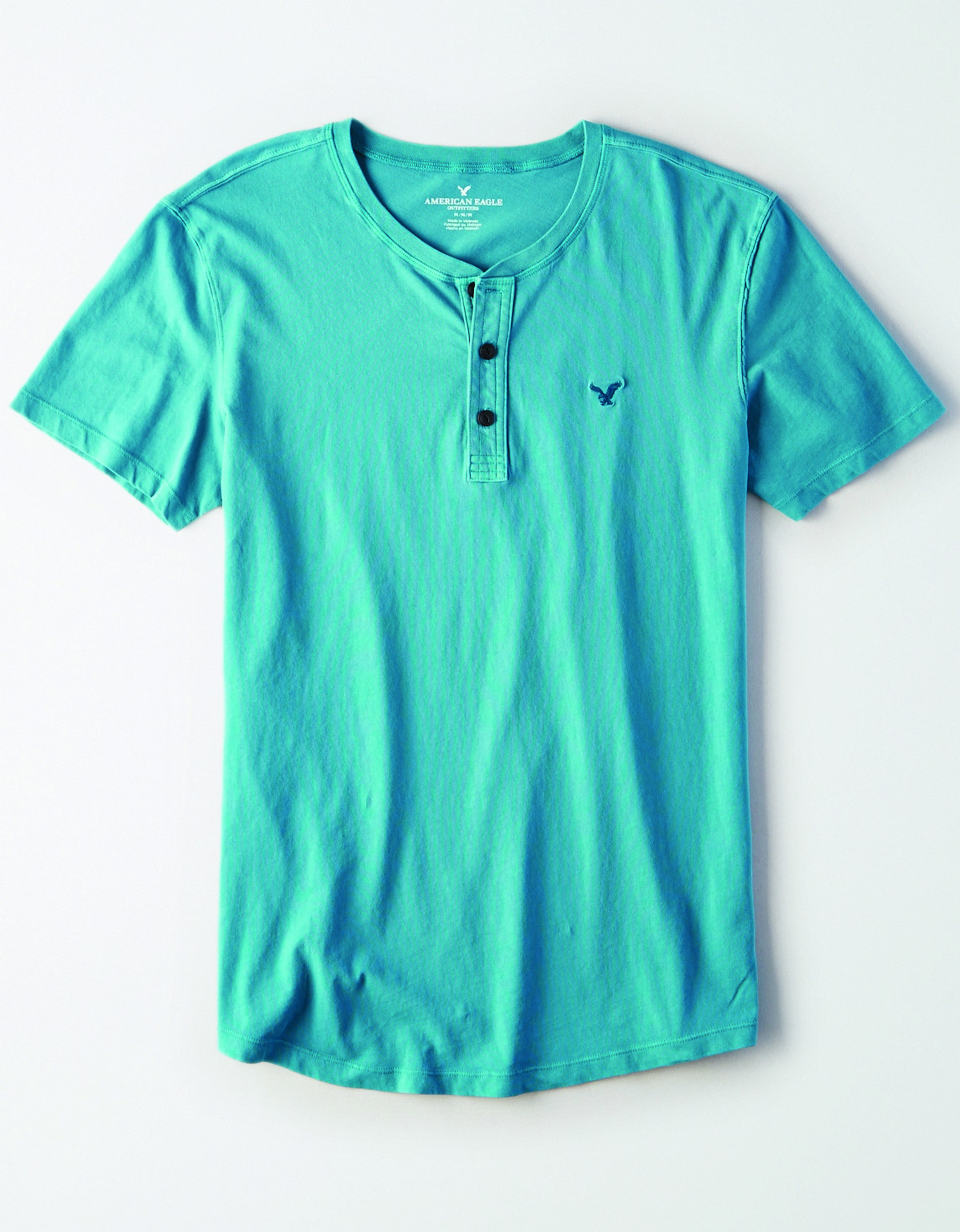 AE - INTL - Apparel - M - SS Henley Tee - Teal -  embroidered eagle on left chest - Black buttons BG