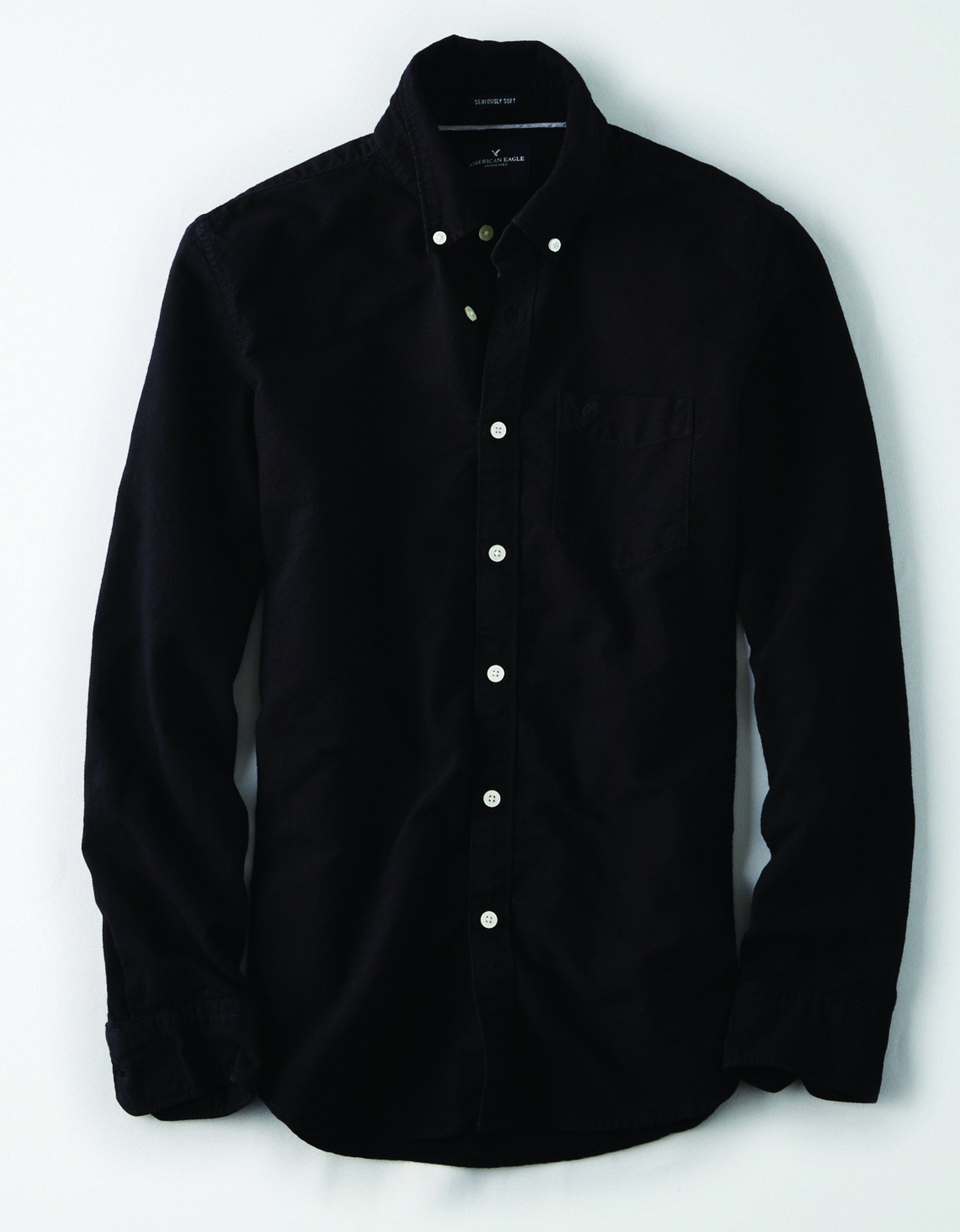 AE - INTL - Apparel - M - SF YD OXFORD - Black - Solid Color - White buttons - Left chest pocket - black embroidered eagle on left chest BG